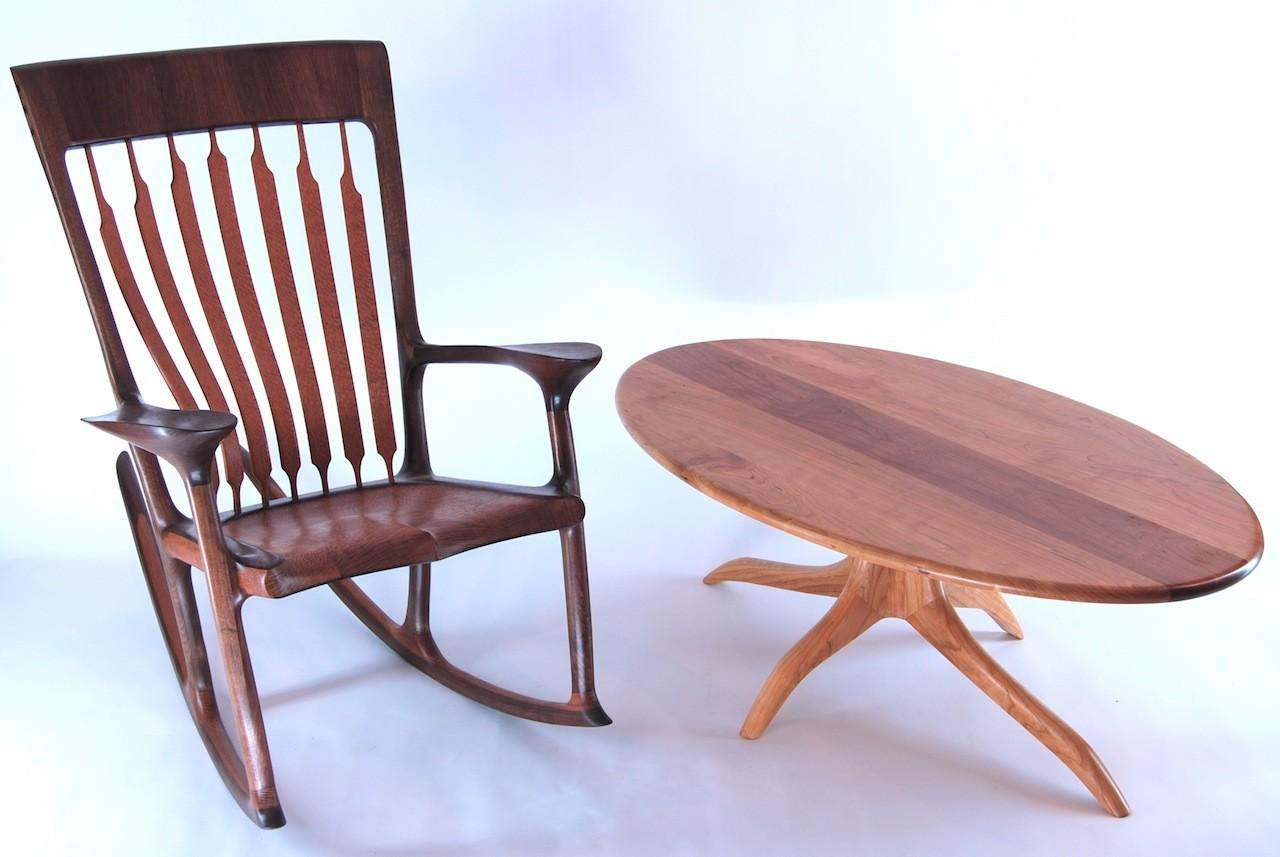 Custom Wooden Rocking Chair Table