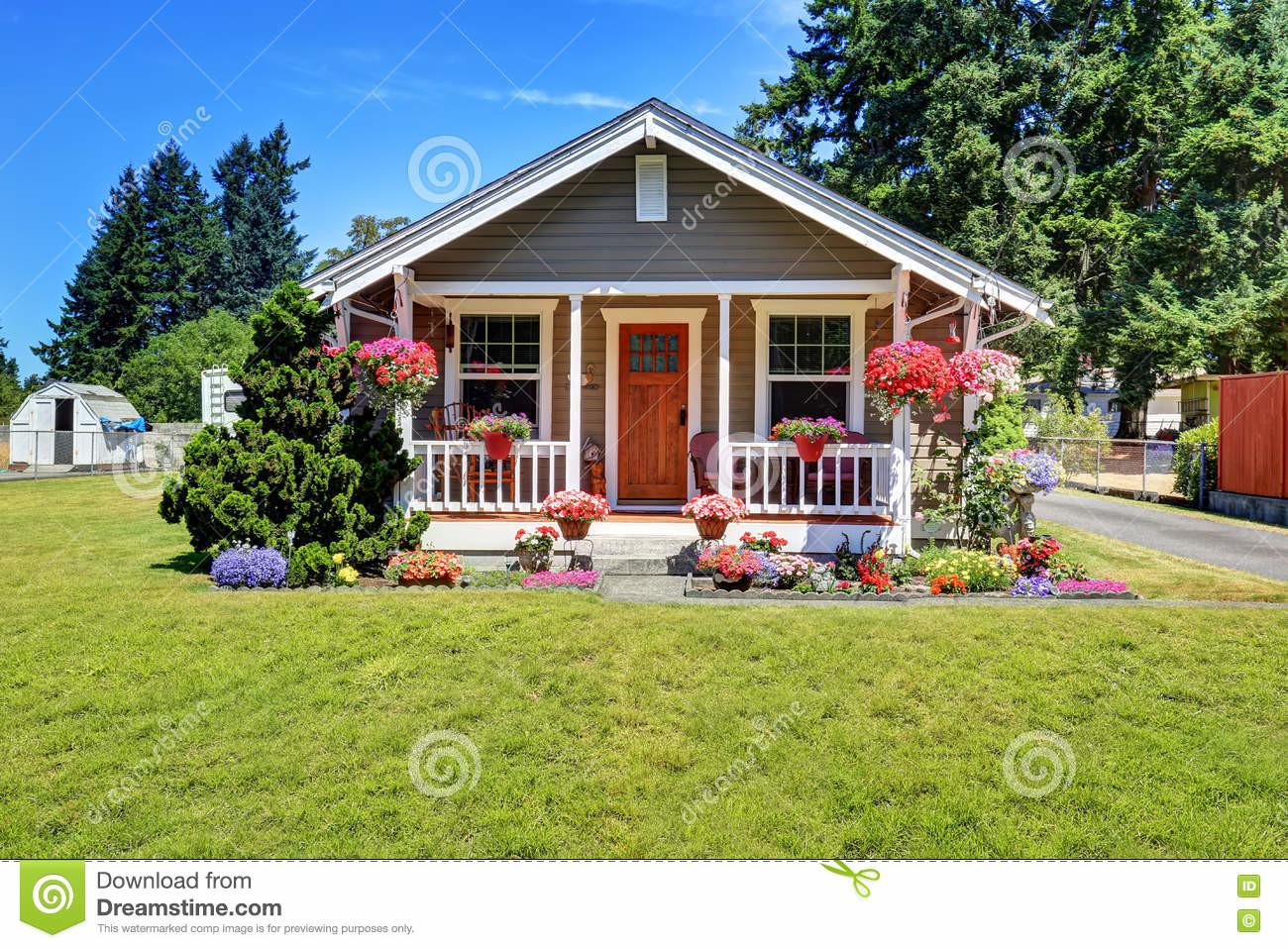 Cute American House Exterior Covered Porch Flower