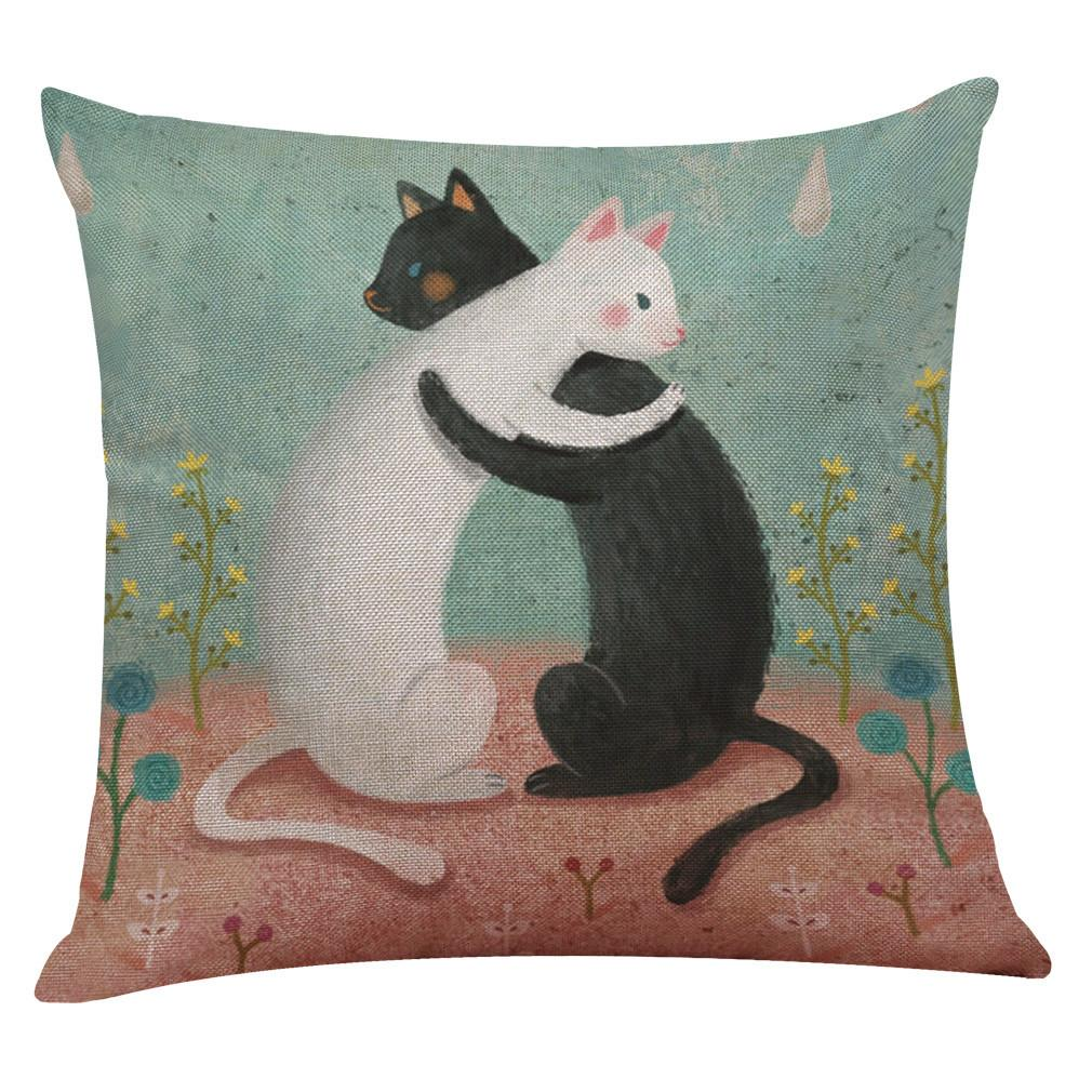 Cute Cat Sofa Bed Home Square Pillow Case Cushion Cover