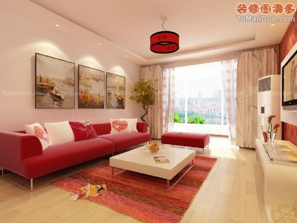 Cute Decorate Beige Living Room Design Ideas Red Sofa