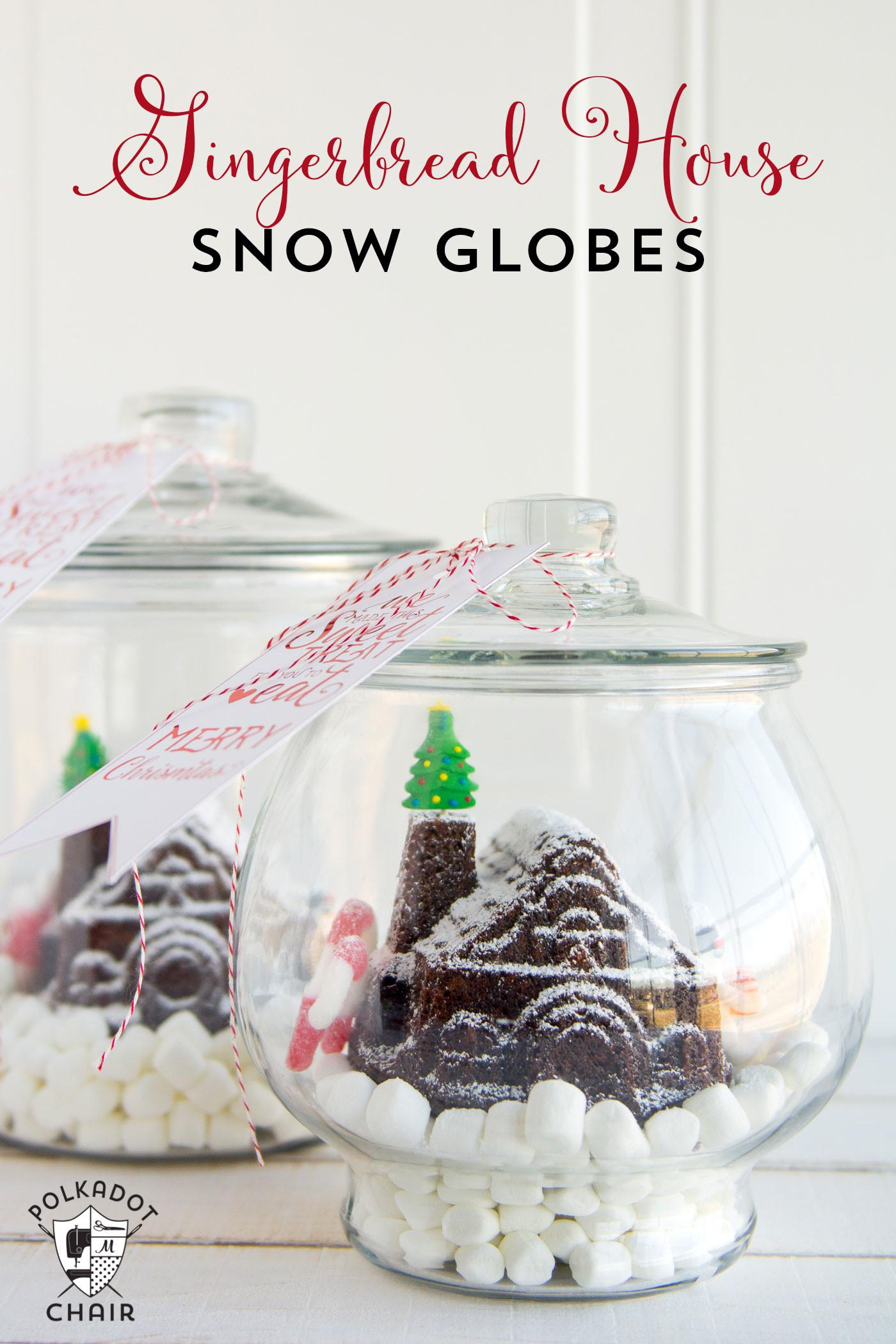 Cute Diy Gingerbread House Snow Globes Printable
