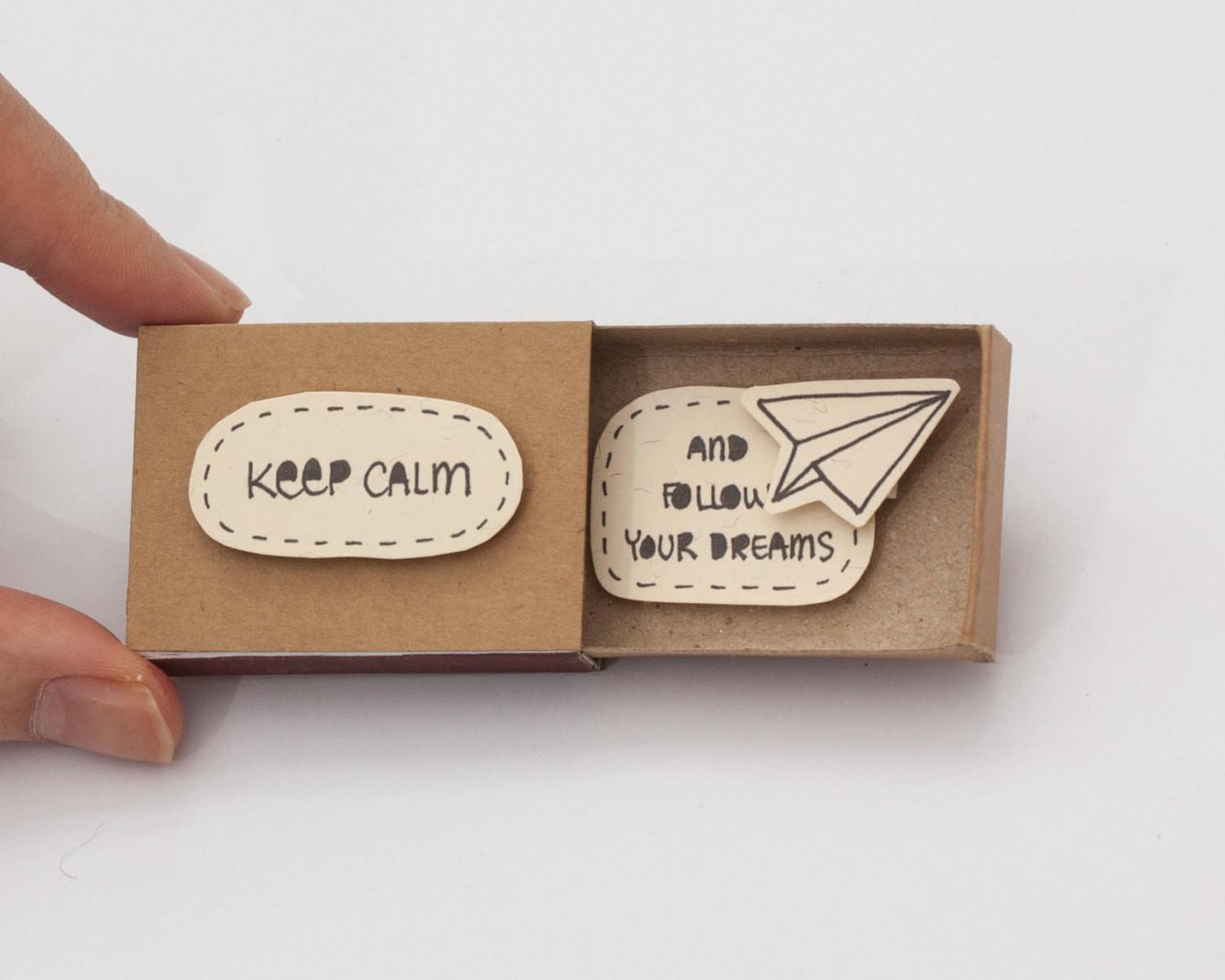 Cute Fun Encouragement Card Matchbox Gift Box Message