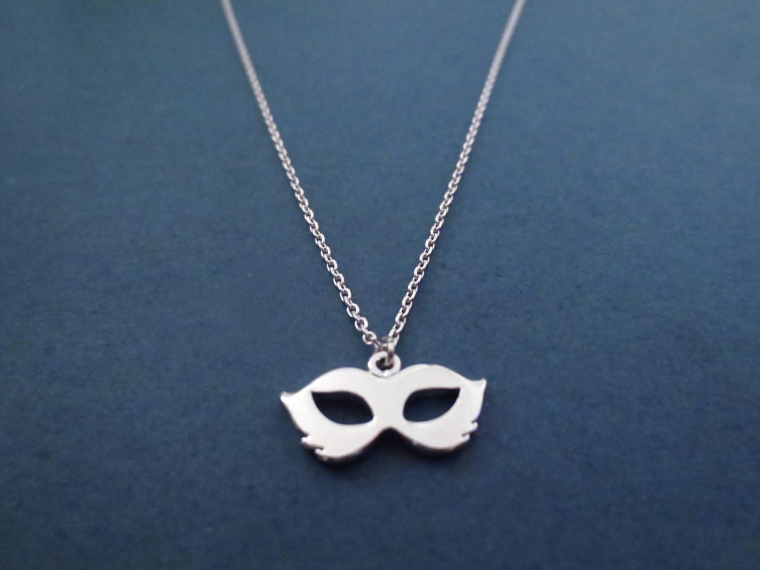 Cute Mask Silver Necklace Modern Dainty Minimal