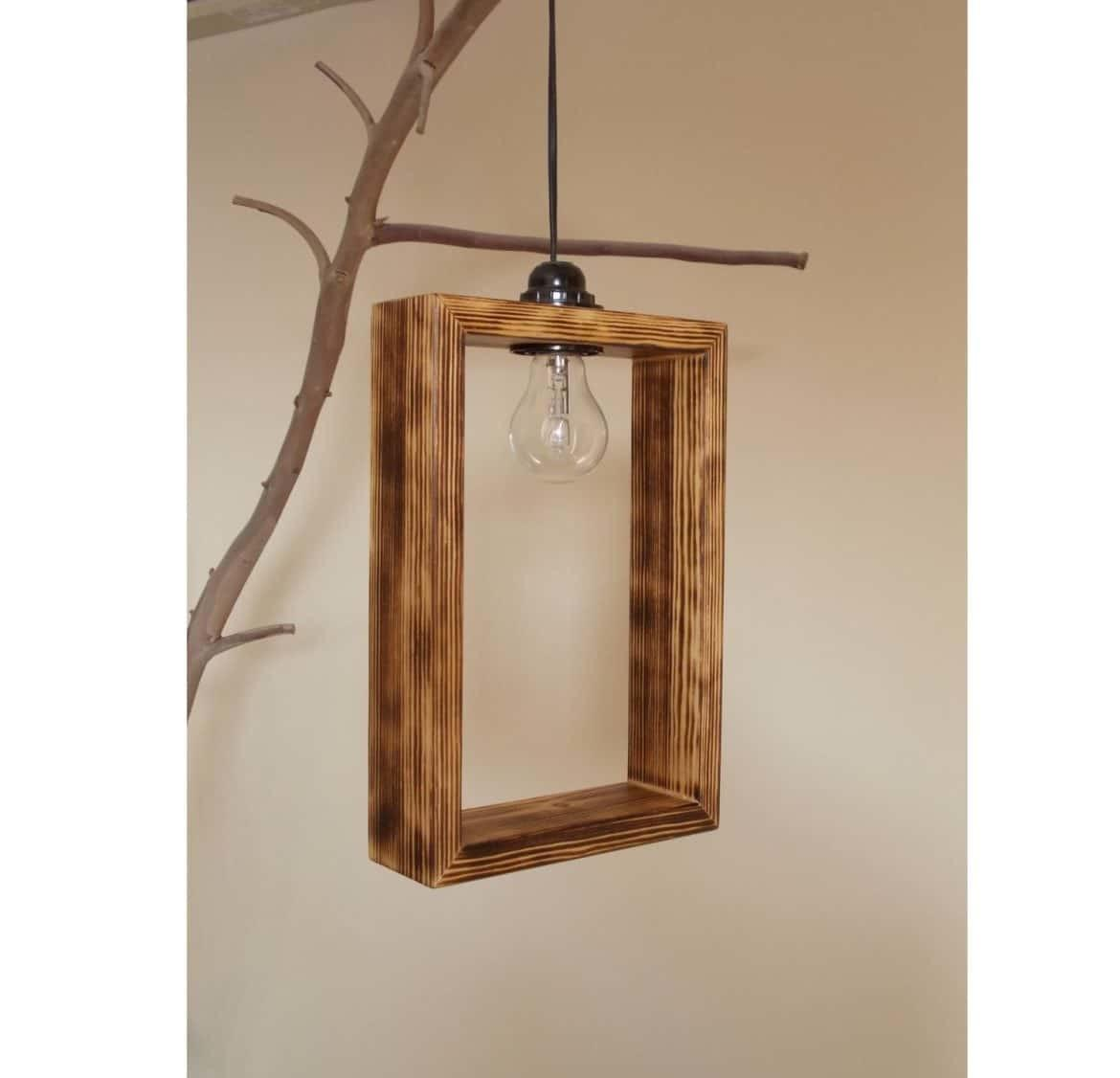 Cute Minimal Wooden Pendant Lighting Shade Lights