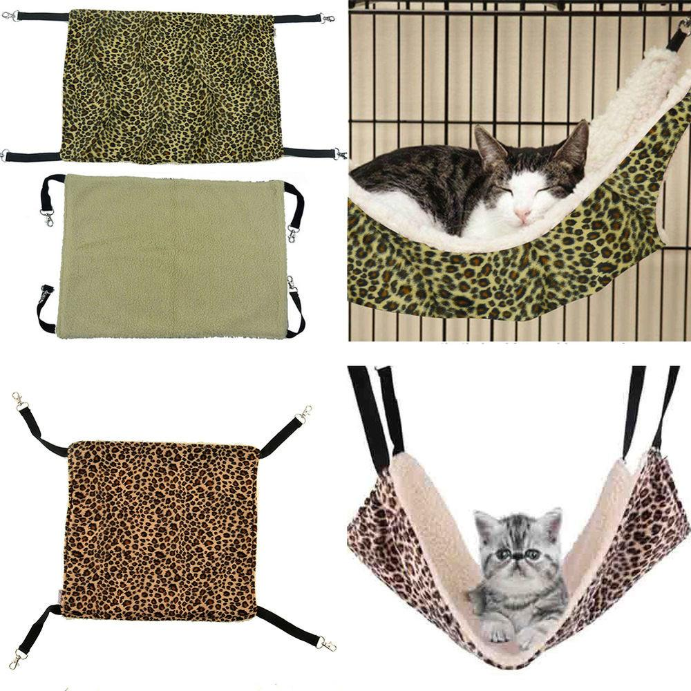 Cute Pet Cat Kitty Ferret Hammock Leopard Design Bed Bunk