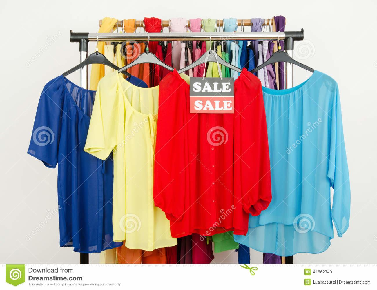 Cute Red Yellow Blue Blouses Displayed Hangers