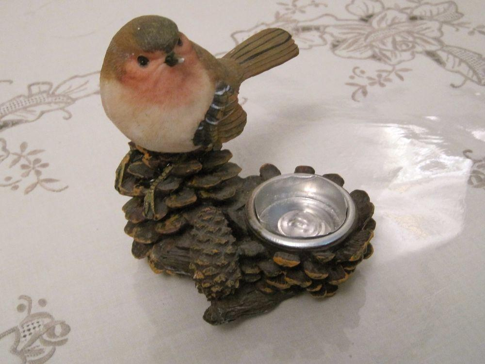 Cute Resin Little Bird Pine Cone Votive Candle Holder