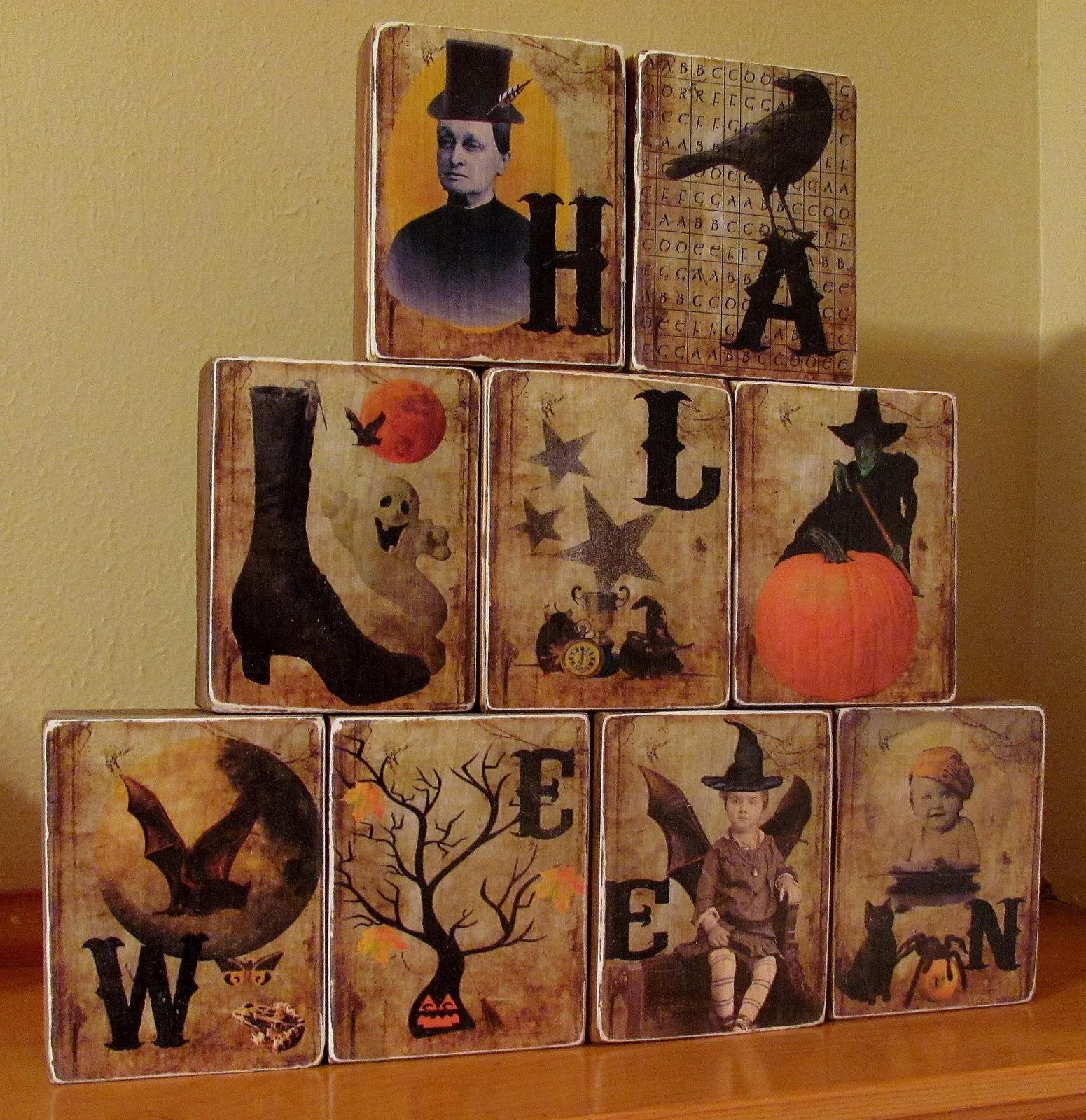 Cute Silhouettes Eye Wreath Halloween Blocks