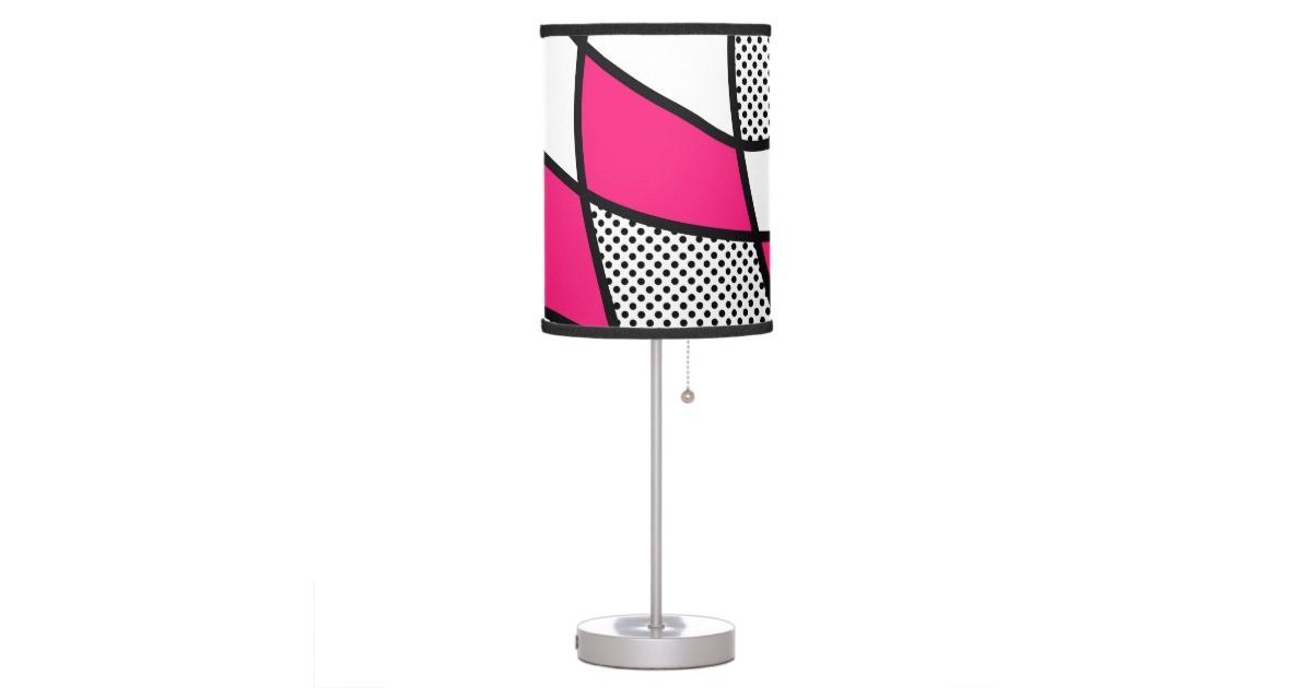 Cute Trendy Pink Black White Polka Dot Table Lamp
