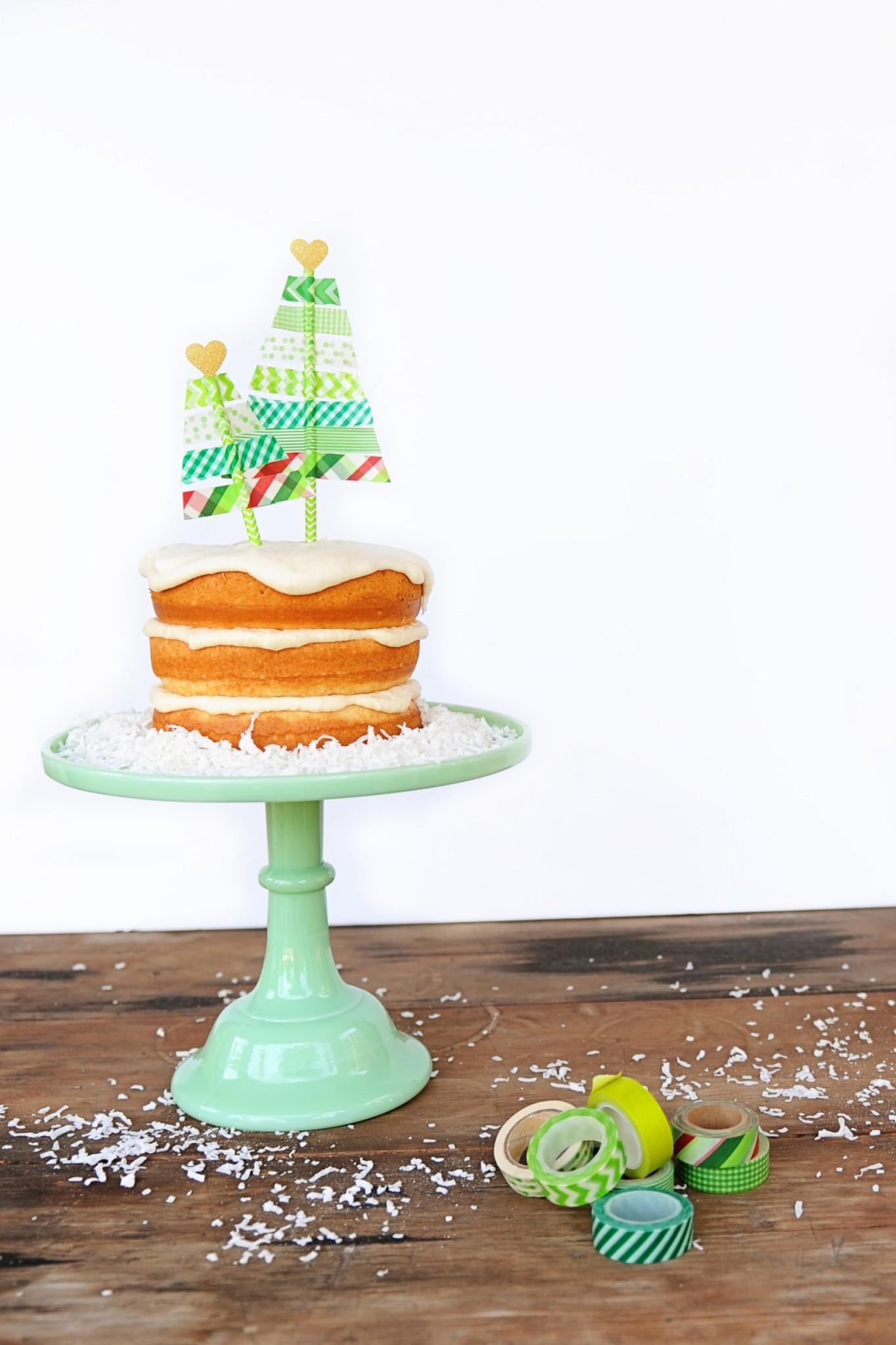 Cute Washi Tape Christmas Tree Diy Cake Topper