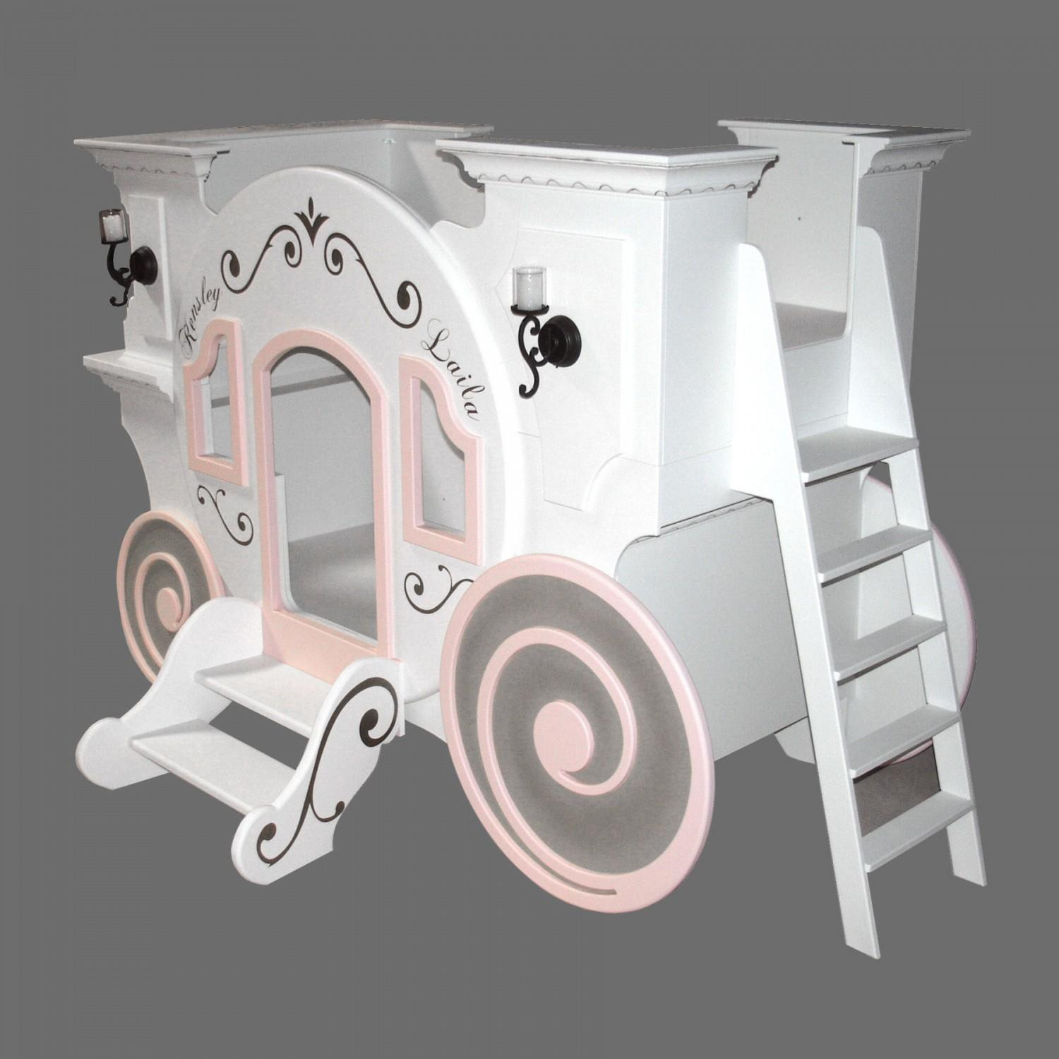 Cute White Cinderella Carriage Levels Princess Bed
