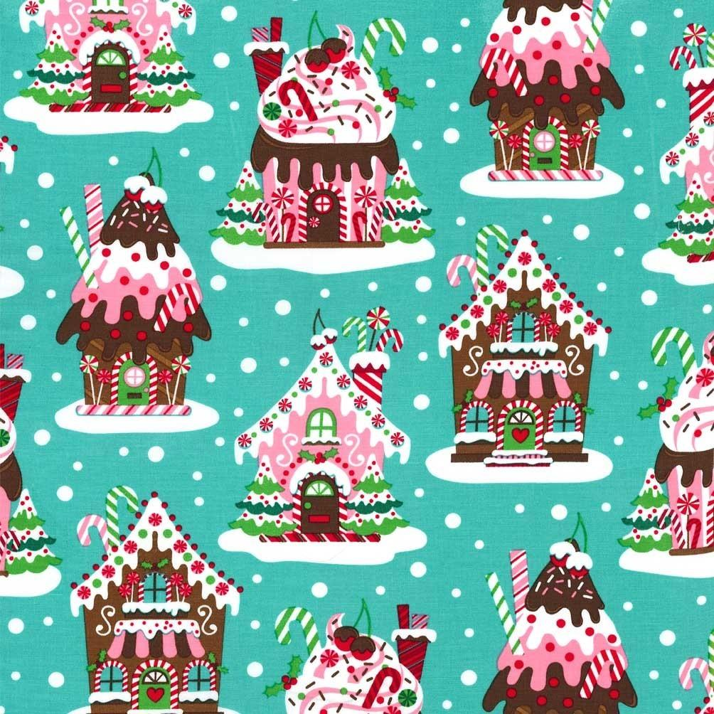 Cx5952 Gingerbread Houses Aqua Red Green Holiday Christmas