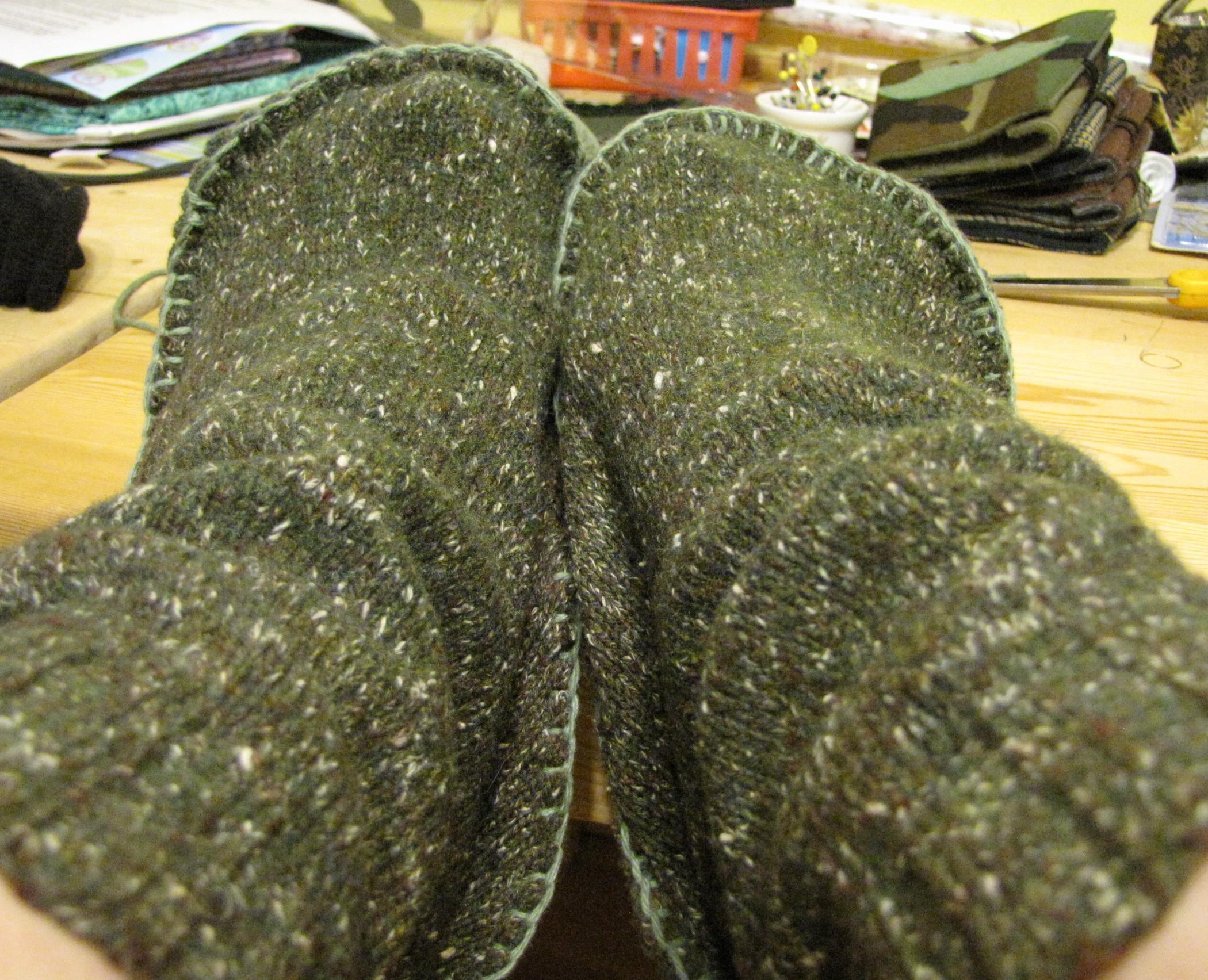 Cycled Felted Sweater Slippers