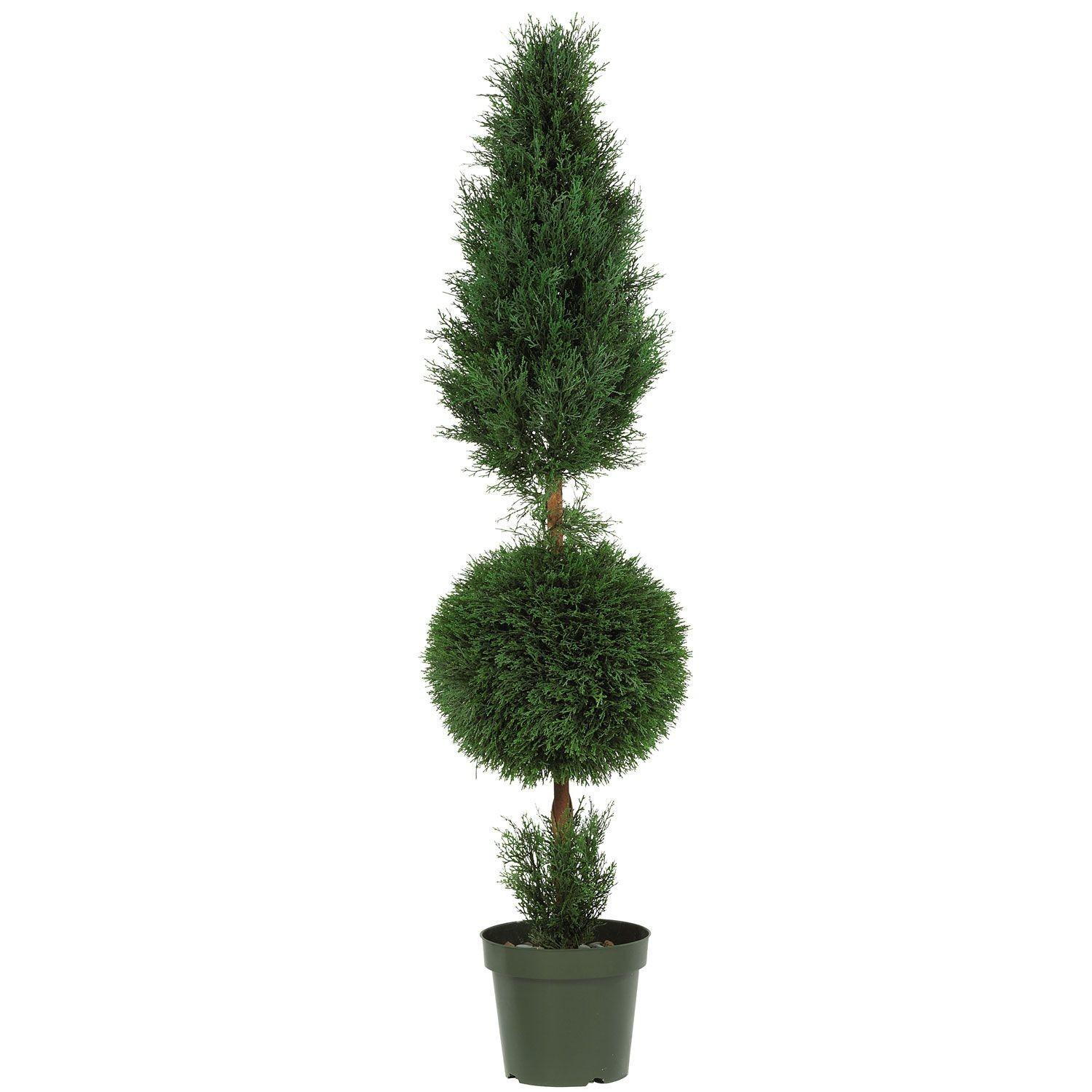 Cypress Ball Cone Shaped Artificial Topiary Tree Pot