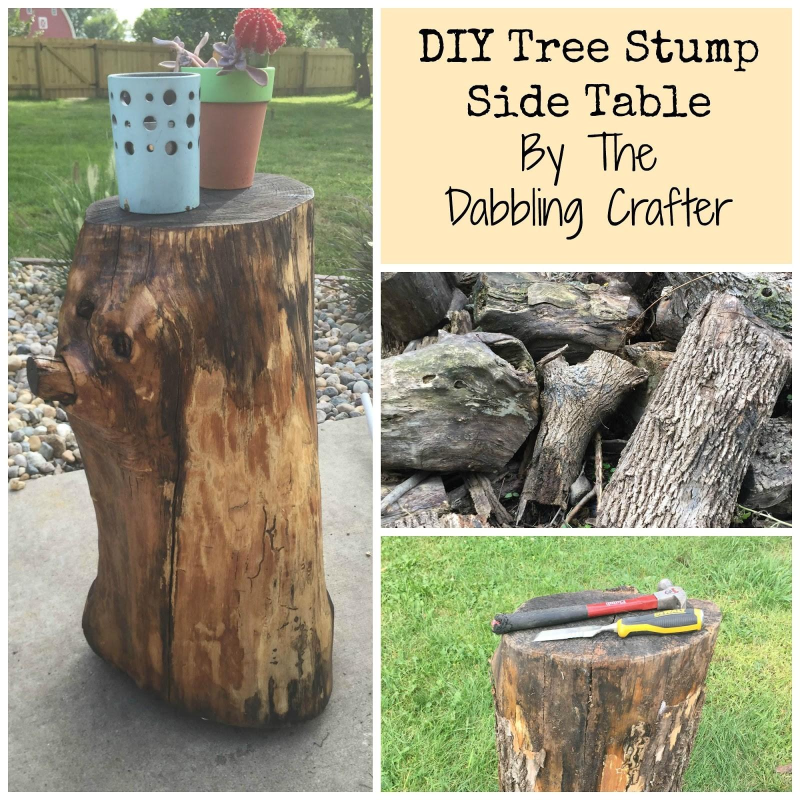 Dabbling Crafter Diy Sunday Tree Stump Side Table