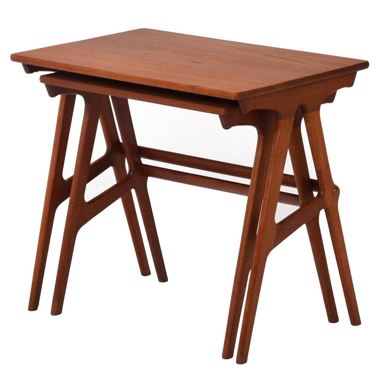Danish Modern Teak Nesting Tables Set Two 1stdibs