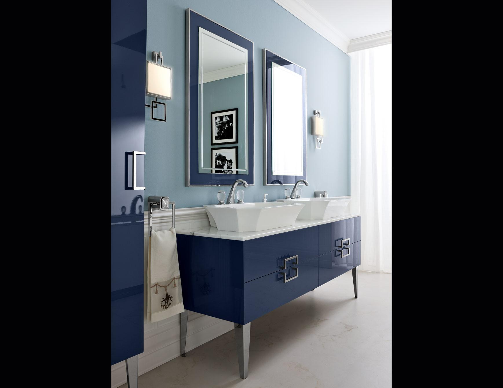 Daphne D18 High End Bathroom Vanity Navy Lacquer Wood