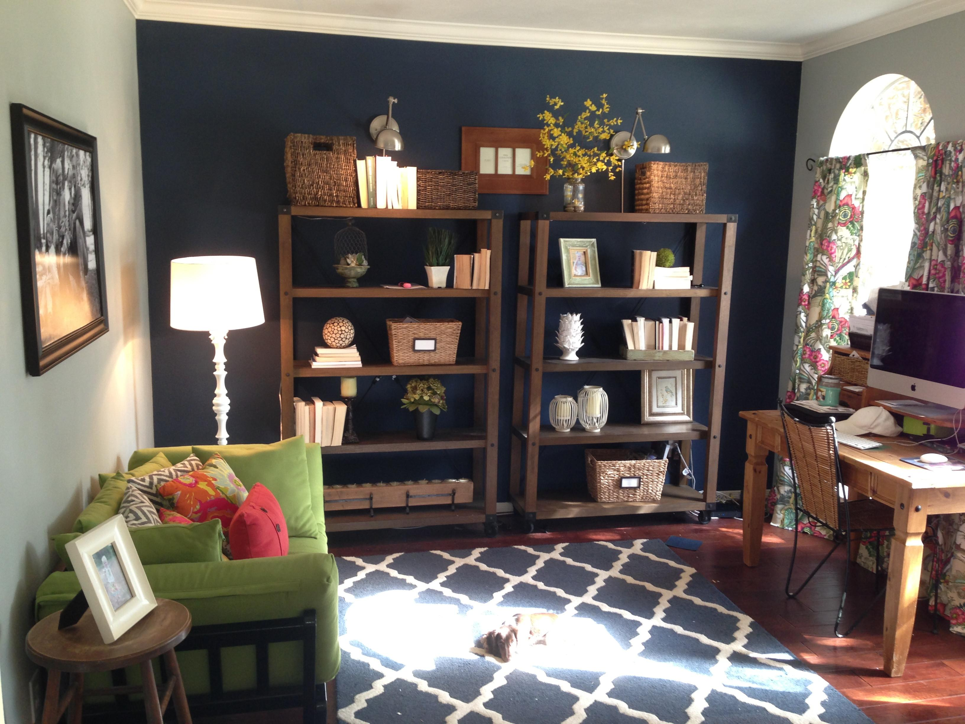 Dark Blue Accent Wall Home Office Study Things