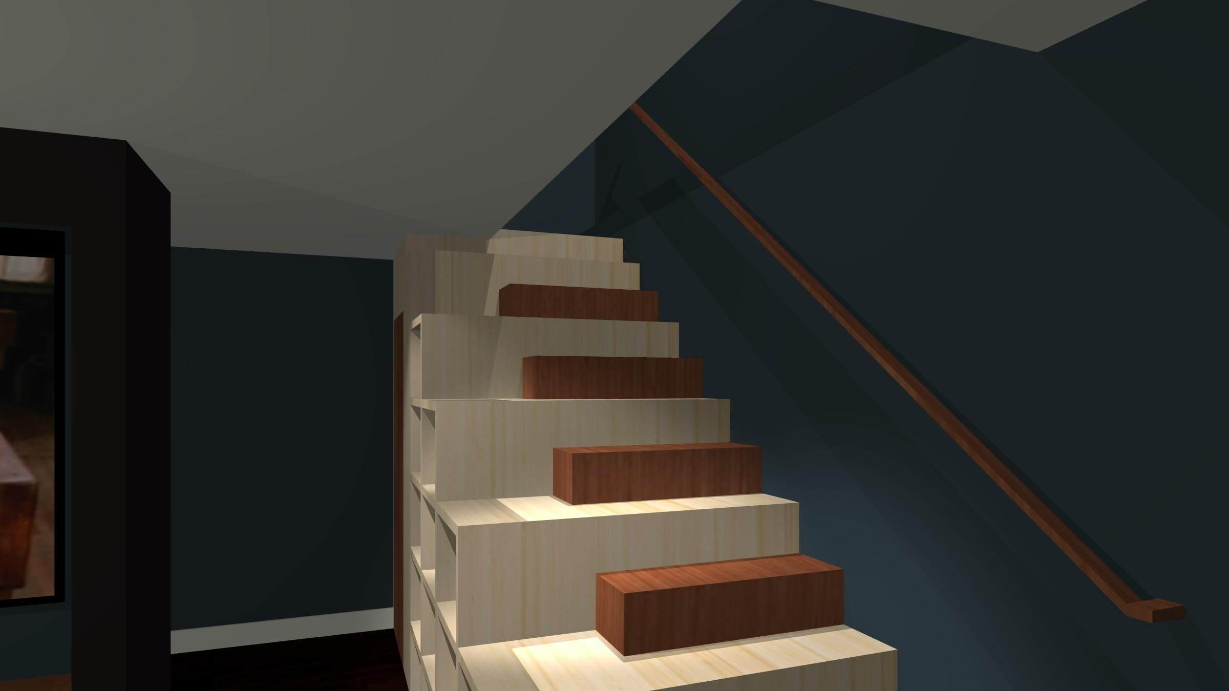 Dark Brown Hardwood Stair Bookcase Laminate Flooring