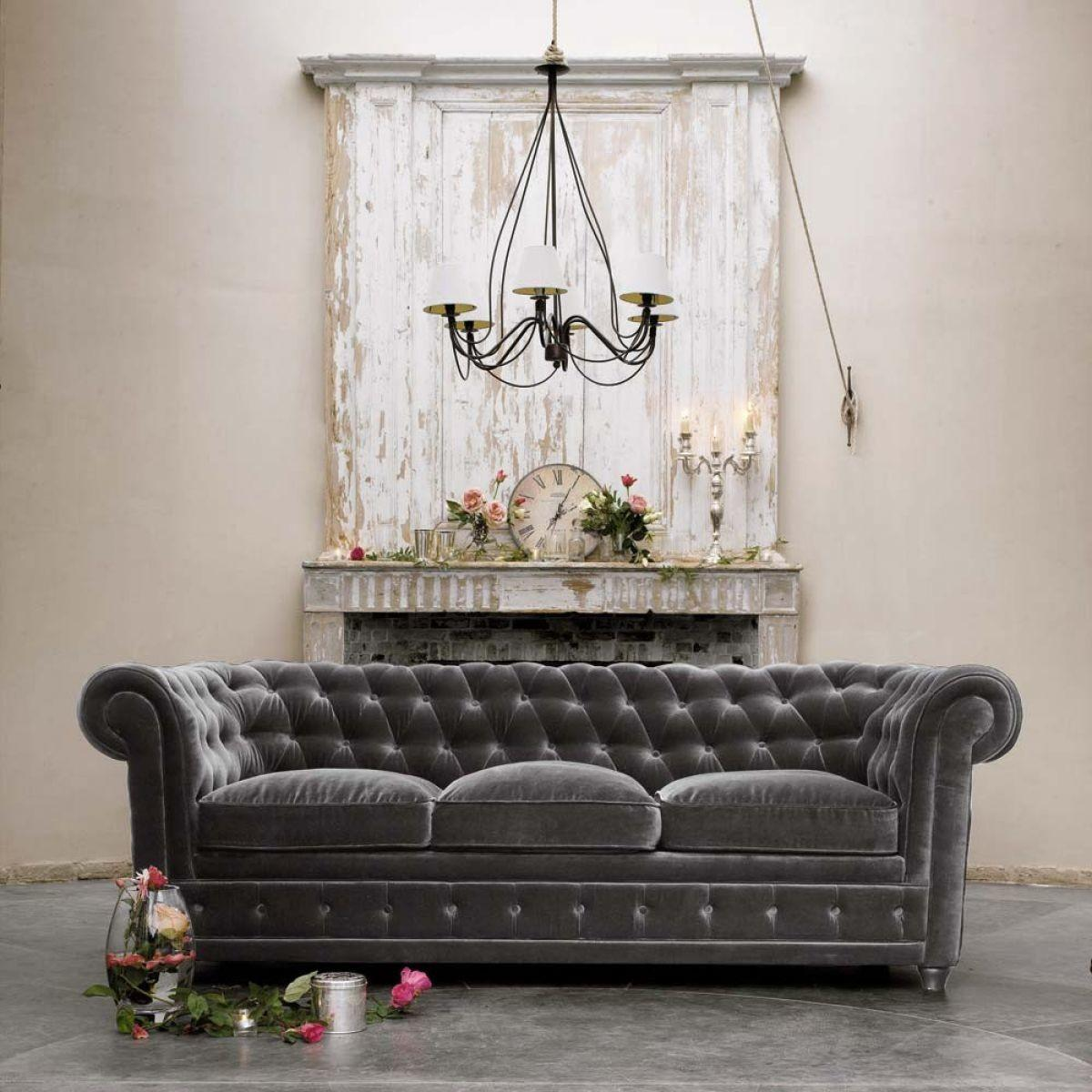 Dark Gray Velvet Tufted Sofa Cushions Front