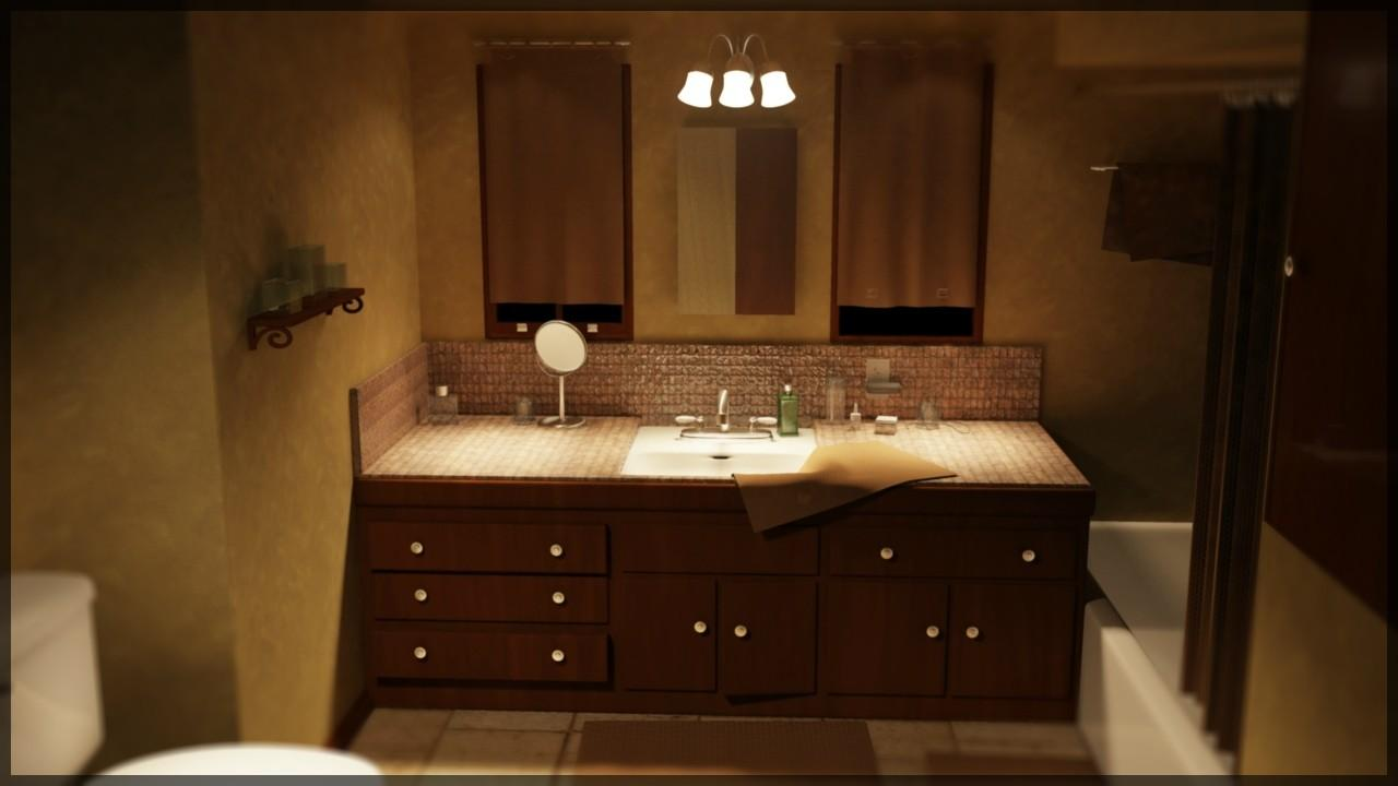 Dark Nuanced Bathroom Concept Feat Appealing Lighting