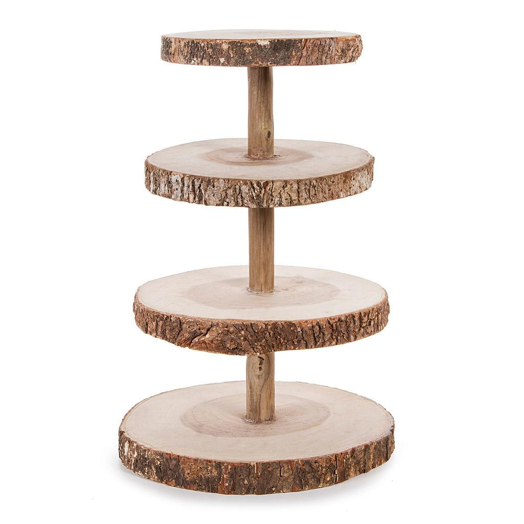 David Tutera Tier Rustic Wood Slice Cupcake Stand