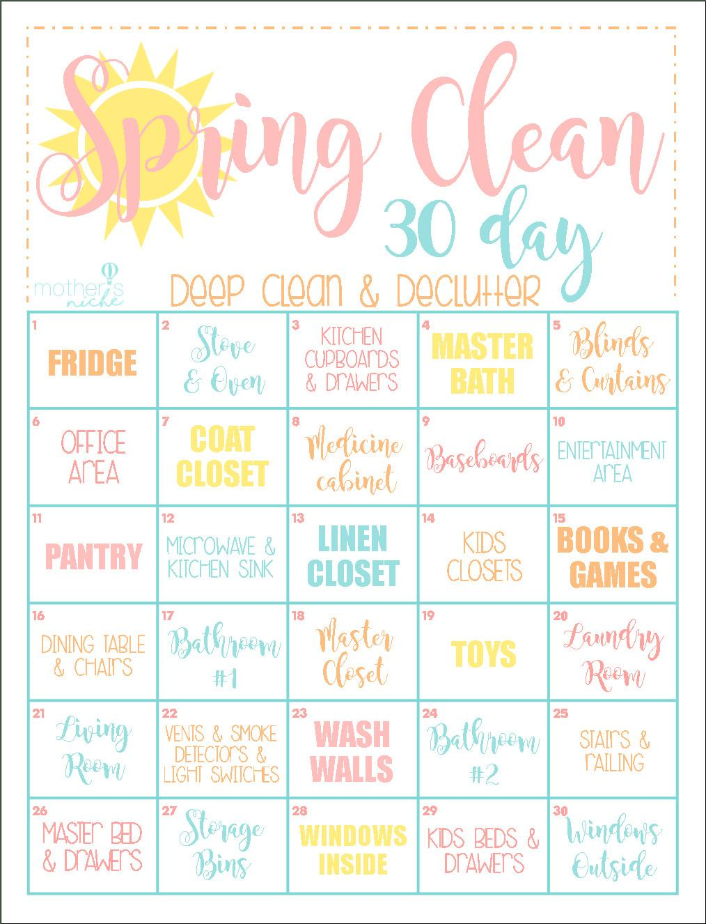 Day Clean Home Challenge Spring Printable