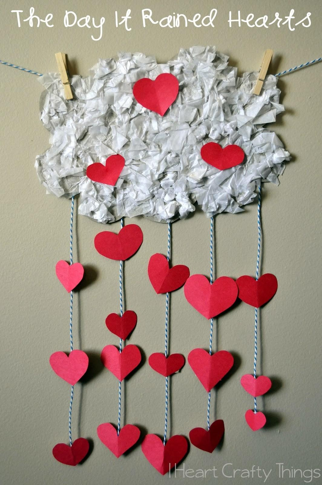 Day Rained Hearts Valentines Craft Kids