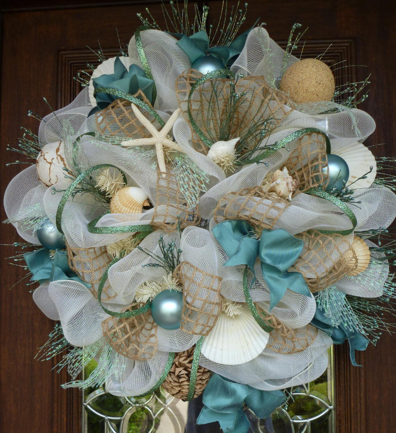 Deco Mesh Shabby Chic Beach Wreath