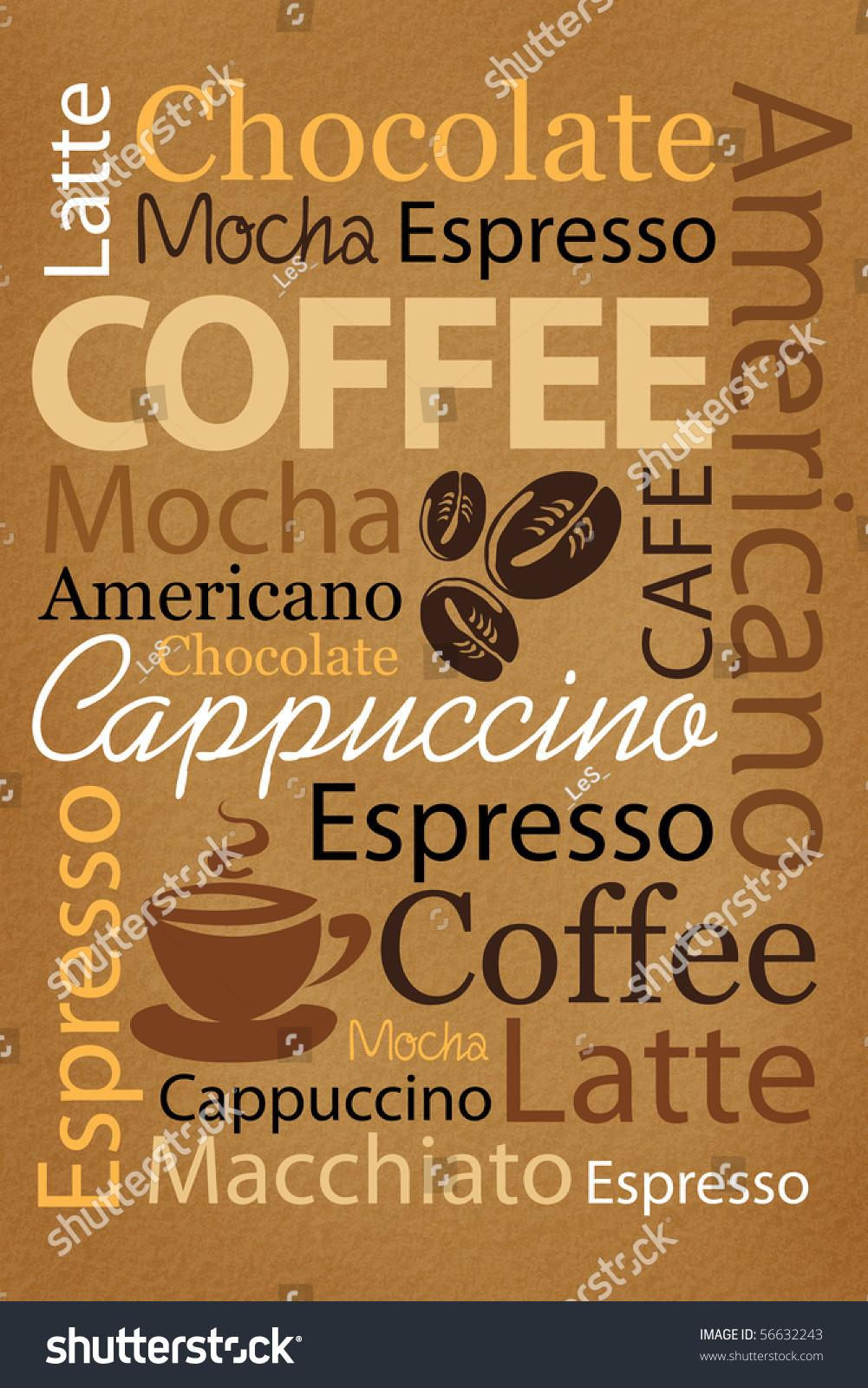 Decorate Coffee Shop Words Stock