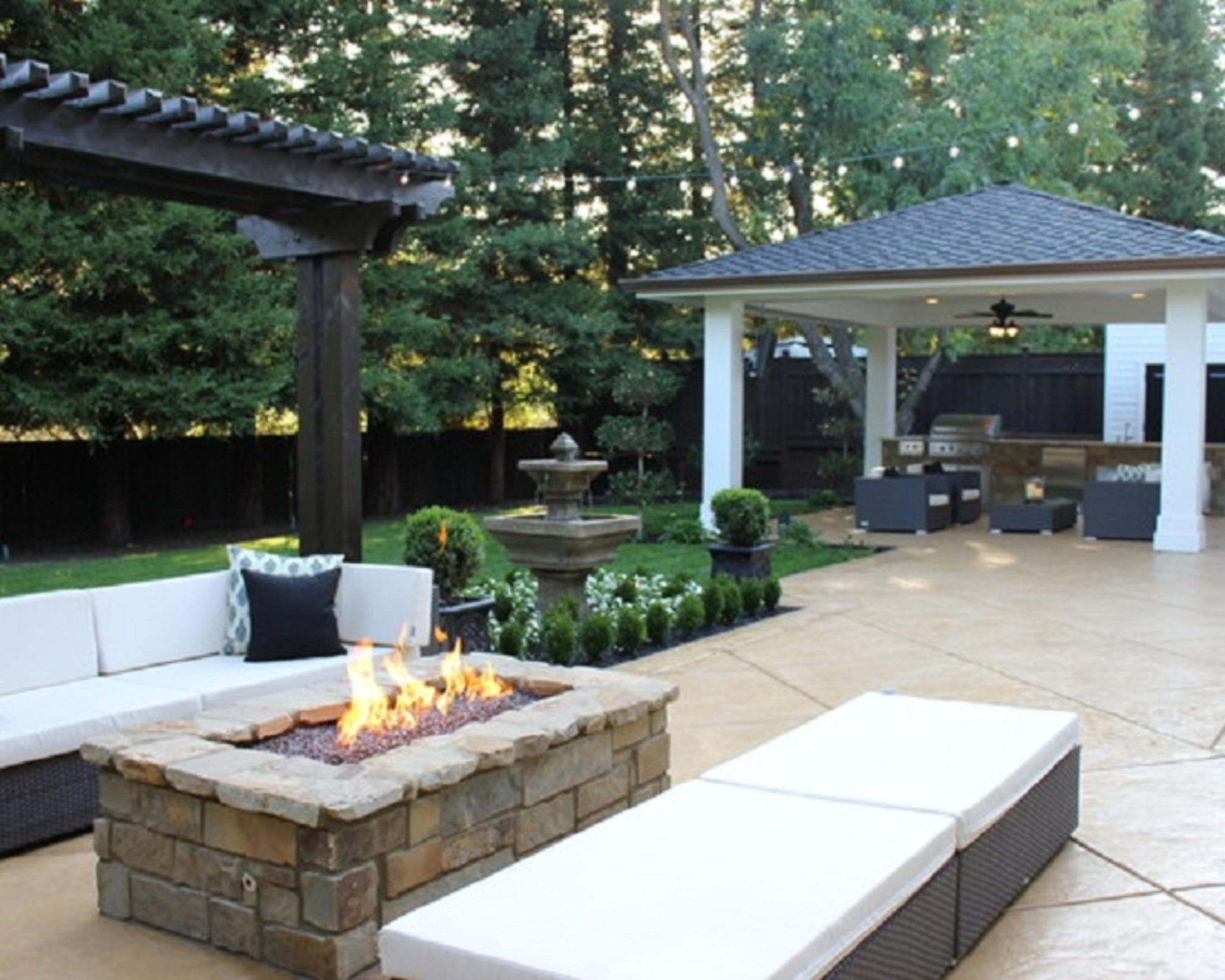 Decorating Cool Outdoor Patio Ideas Rectangle Fire