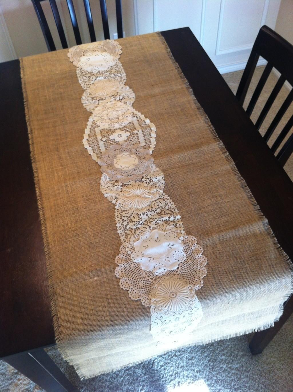 Decorating Coral Burlap Table Runner Wedding