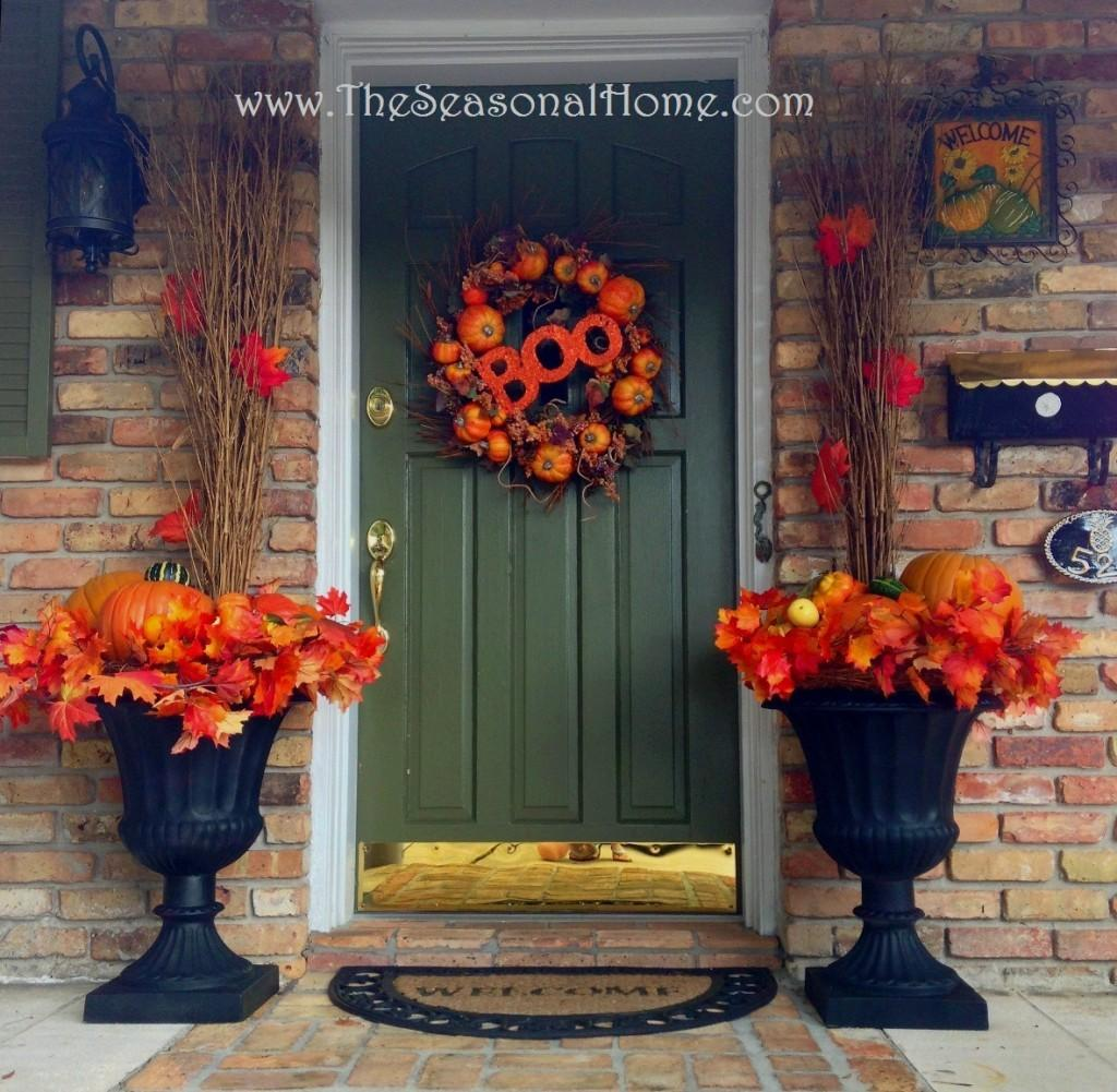 Decorating Front Door Fall Using Planters