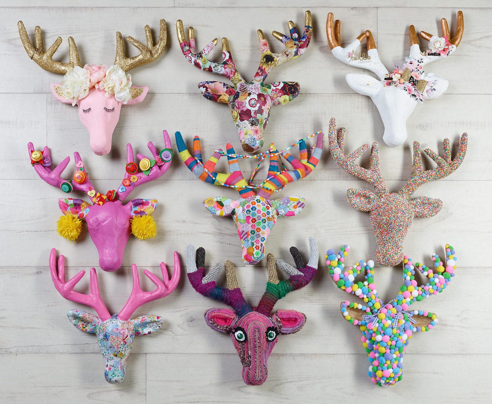 Decorating Papier Mache Deer Heads