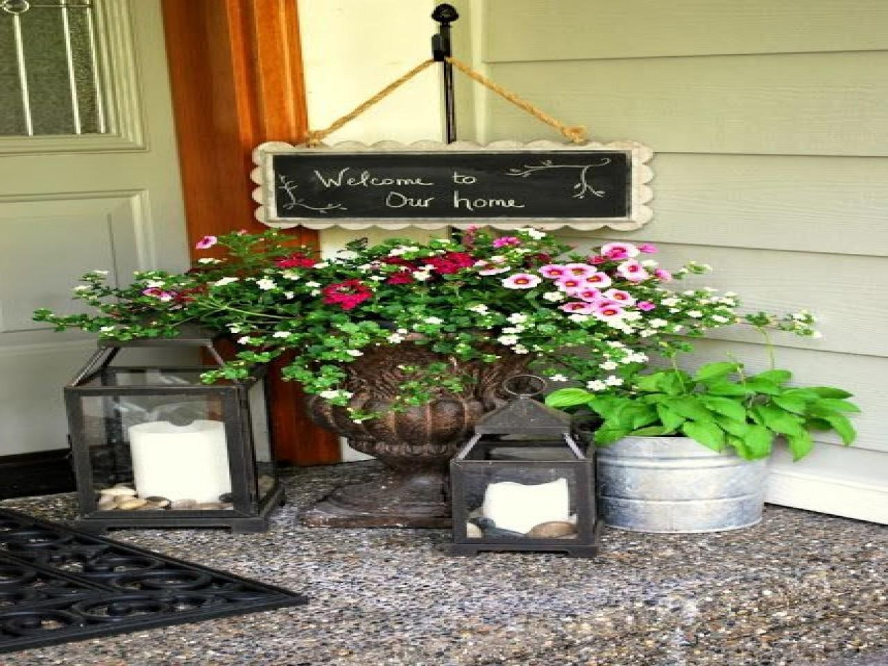 Decorating Small Outdoor Porch Spring Front Pot