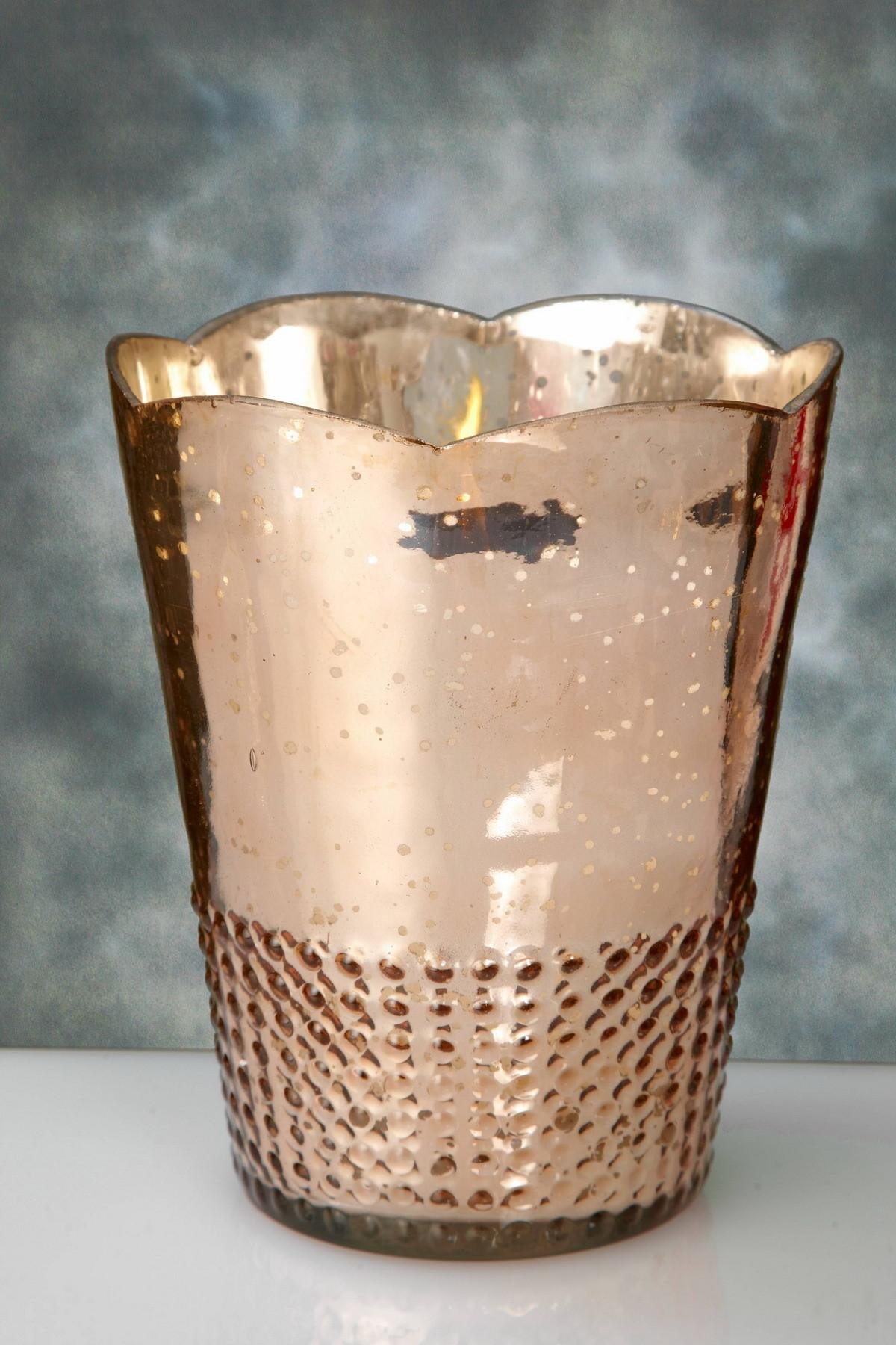 Decorating Tall Silver Leaf Mercury Glass Candle Holders