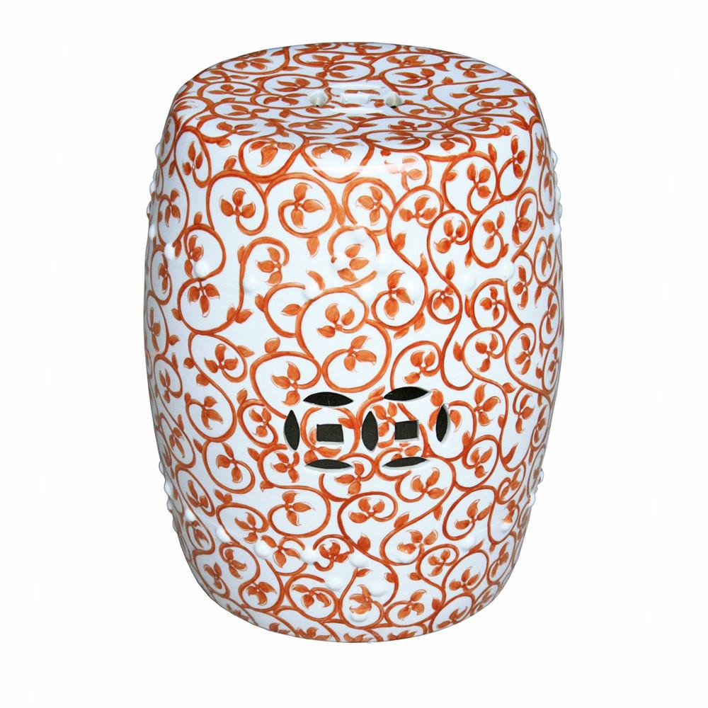 Decorative Chinese Porcelain Orange White Vine Motif