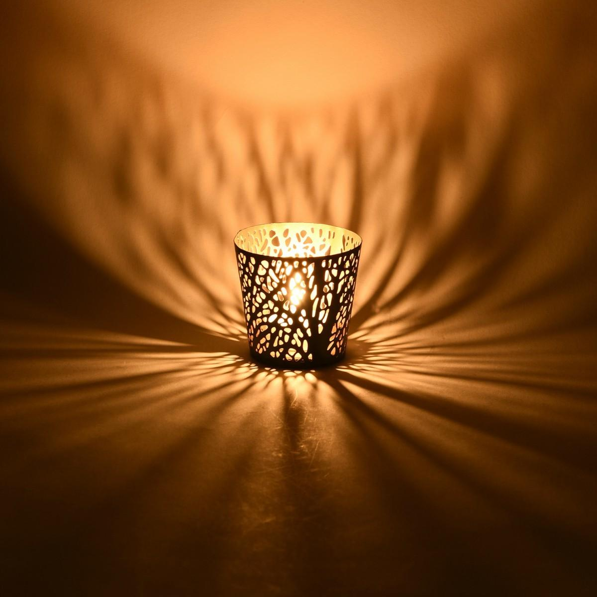 Decorative Metal Tealight Holder Perforated Branch