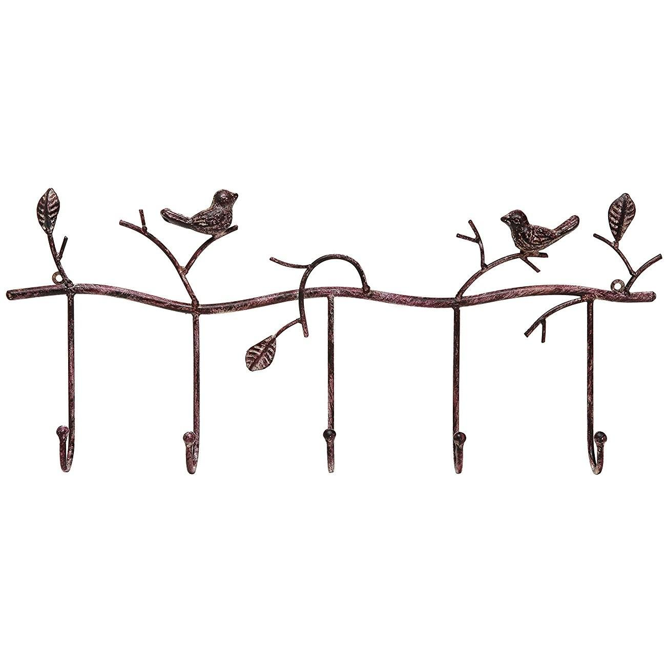 Decorative Rustic Tree Branch Birds Wall Mounted Metal