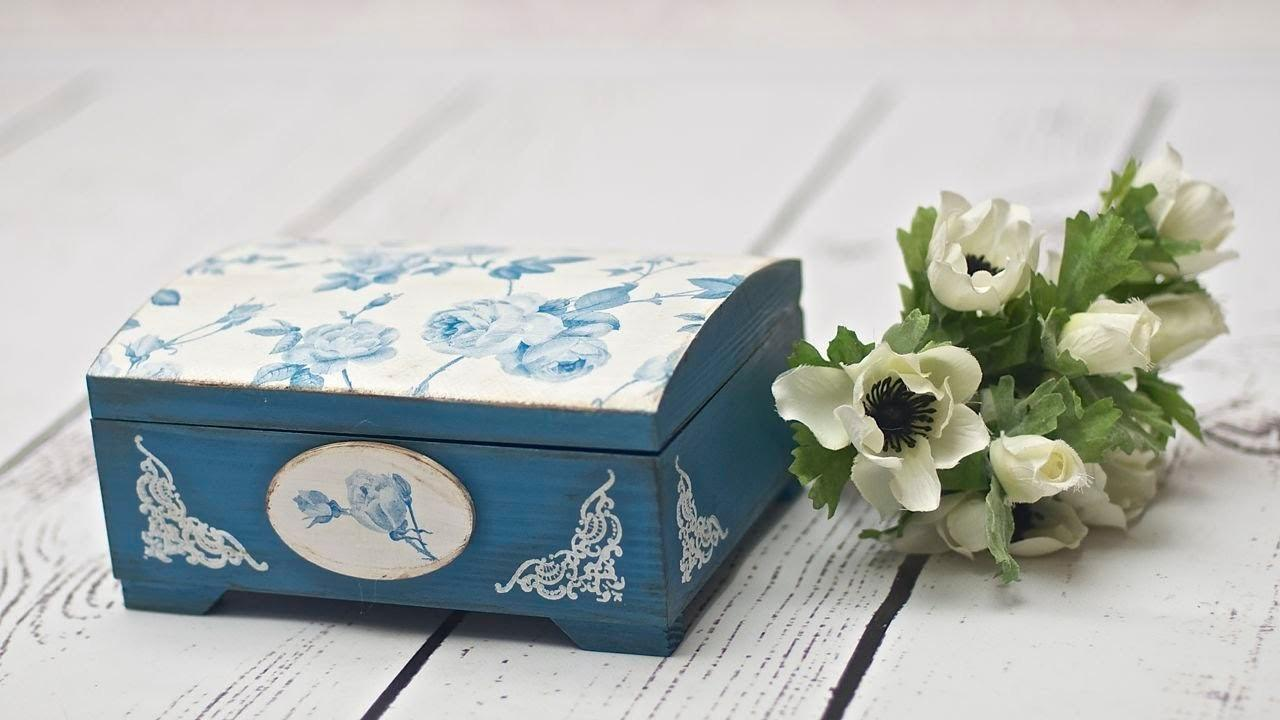 Decoupage Box Blue Roses Tutorial Diy Catherine