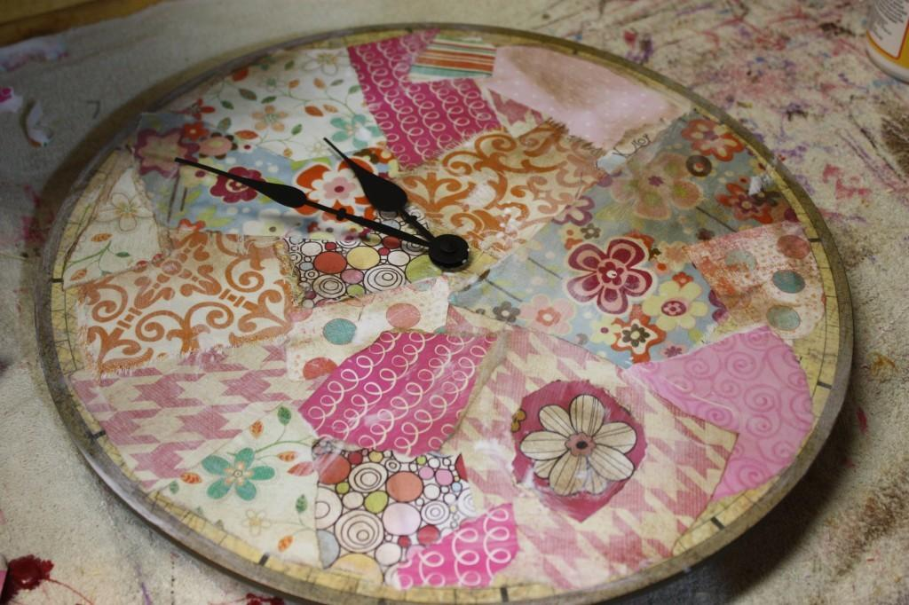 Decoupage Clock Junk Upcycle Tutorial Art Moms Blog