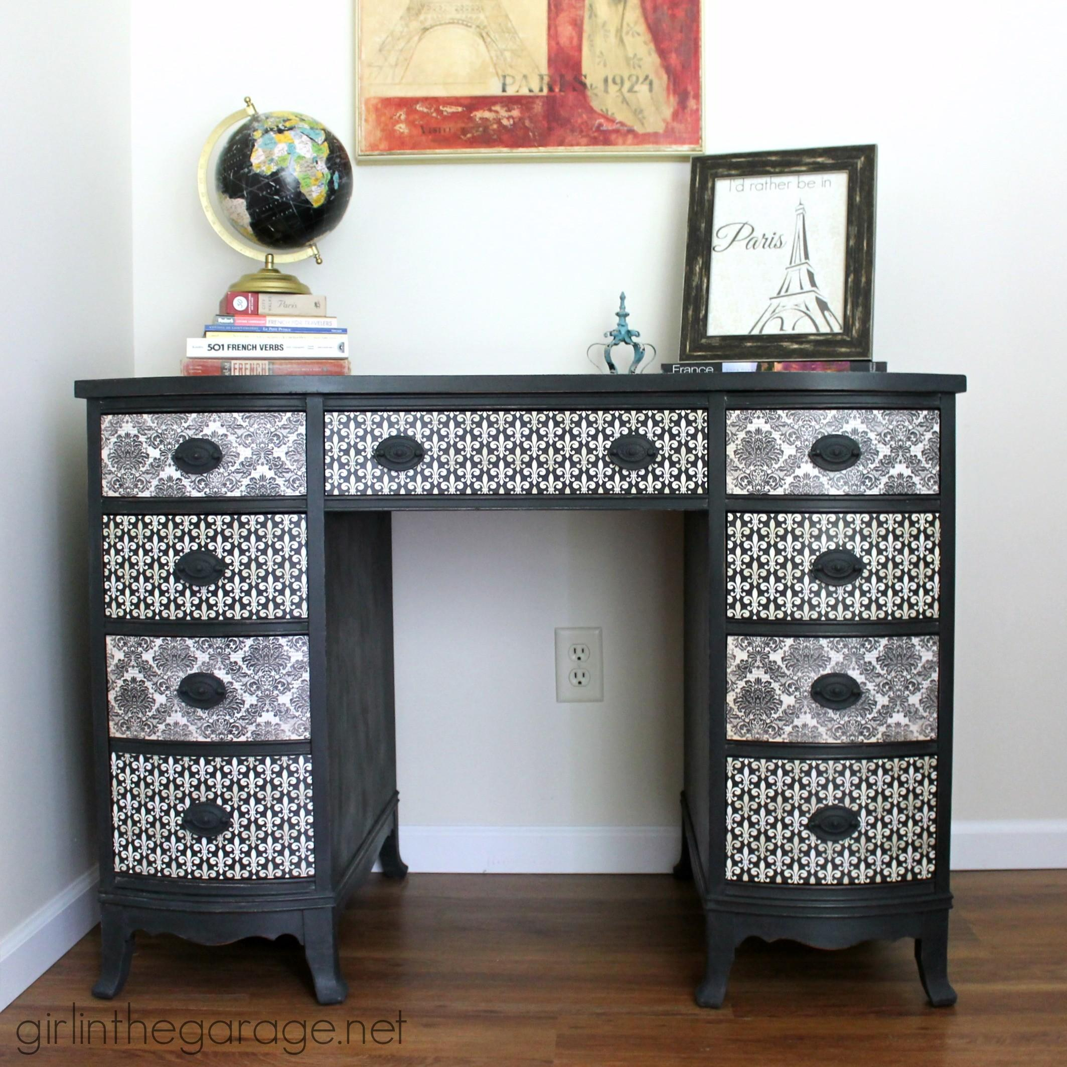 Decoupage Desk Makeover Diy Furniture Makeovers