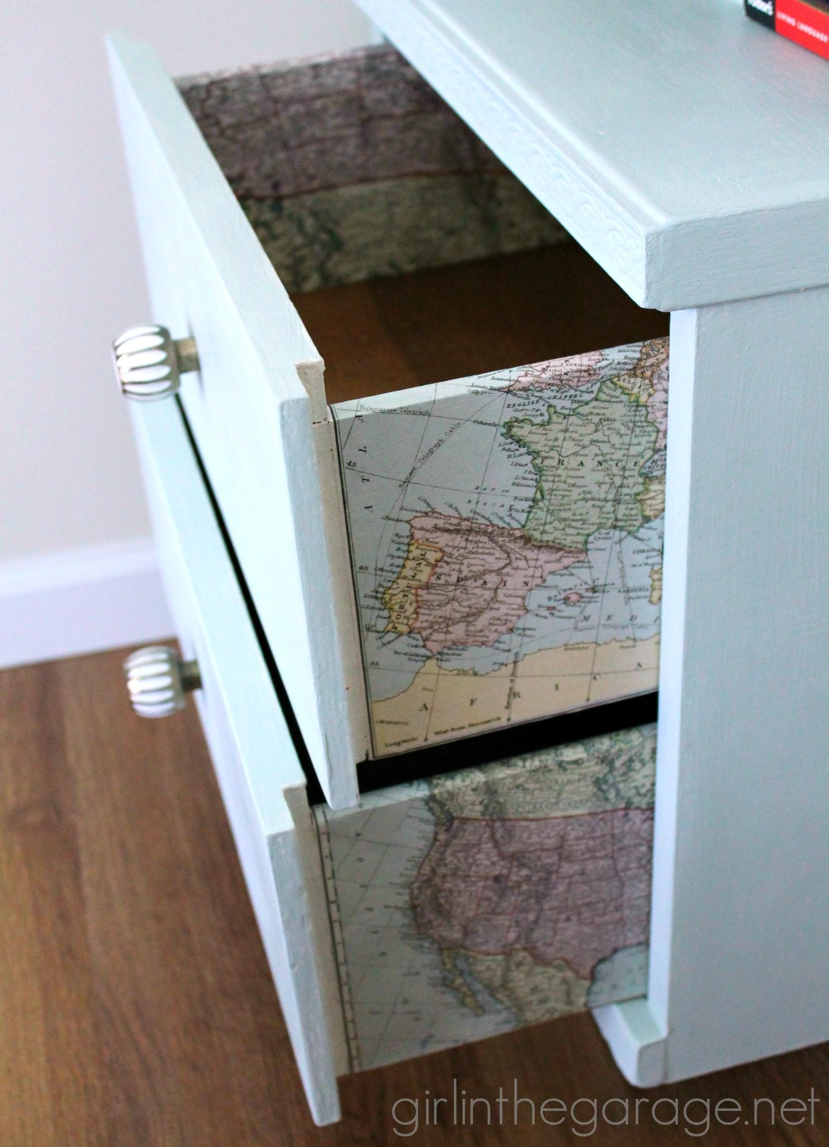 Decoupage Furniture Maps Storage