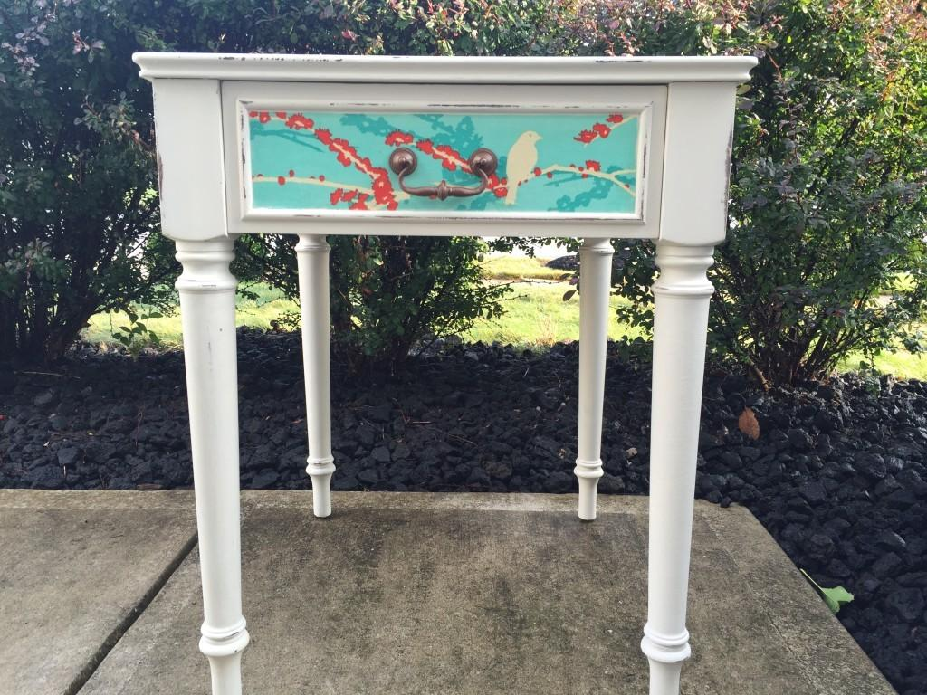 Decoupage Side Table Themed Furniture Makeover Day