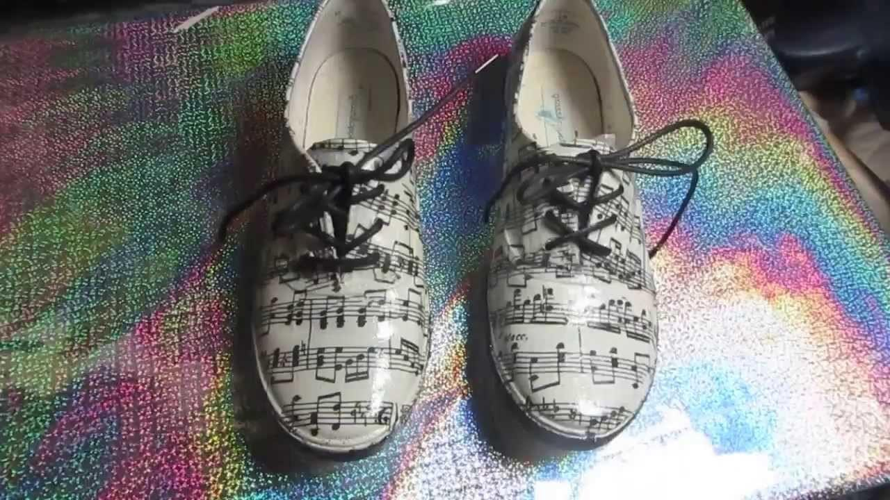 Decoupage Sneakers Music Notes