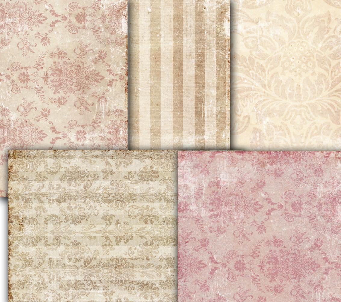 Decoupage Vintage Damask Shabby Chic Old Paper