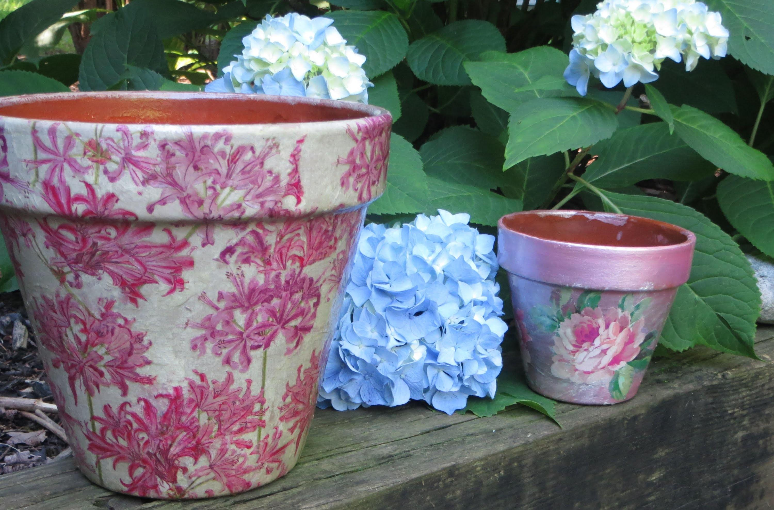 Decoupage Weather Proof Clay Pot