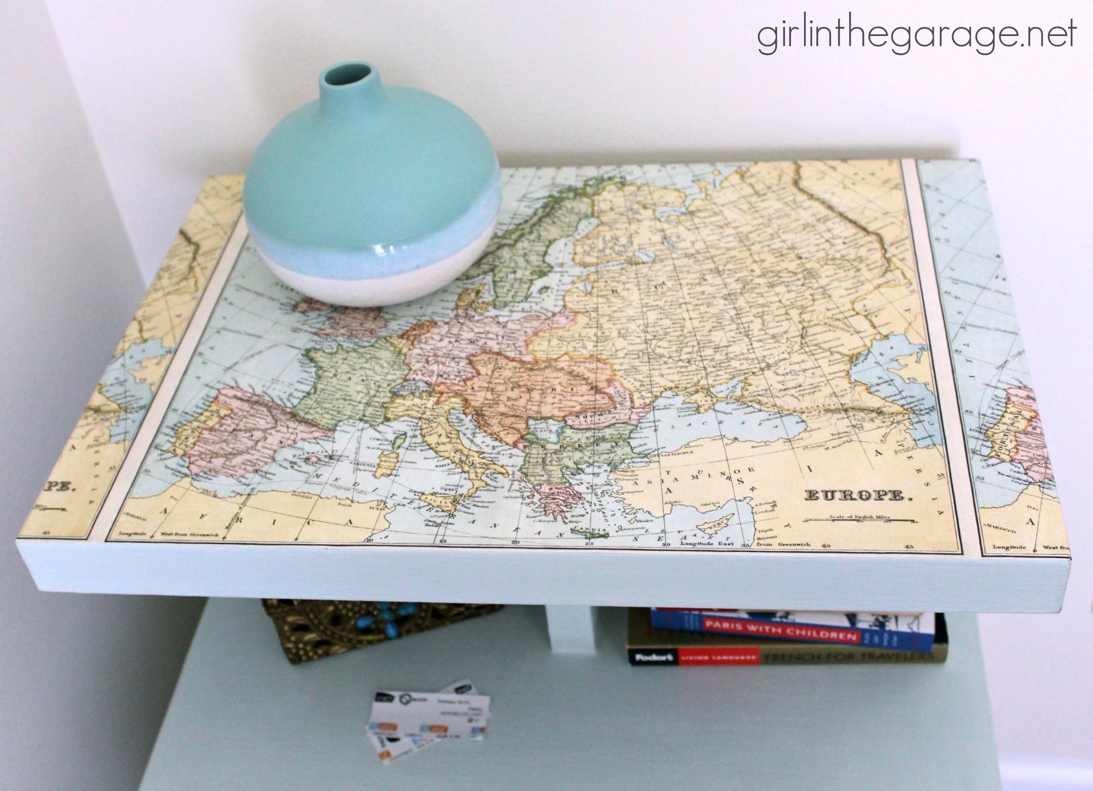 Decoupaged Map Table Themed Furniture Makeover Day
