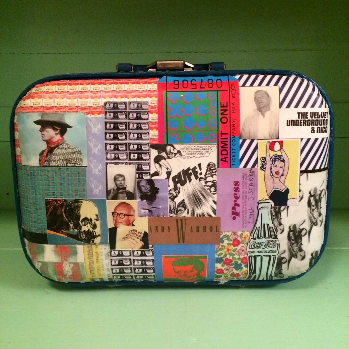 Decoupaged Vintage Train Case Pop Art Pullmydaisy Etsy