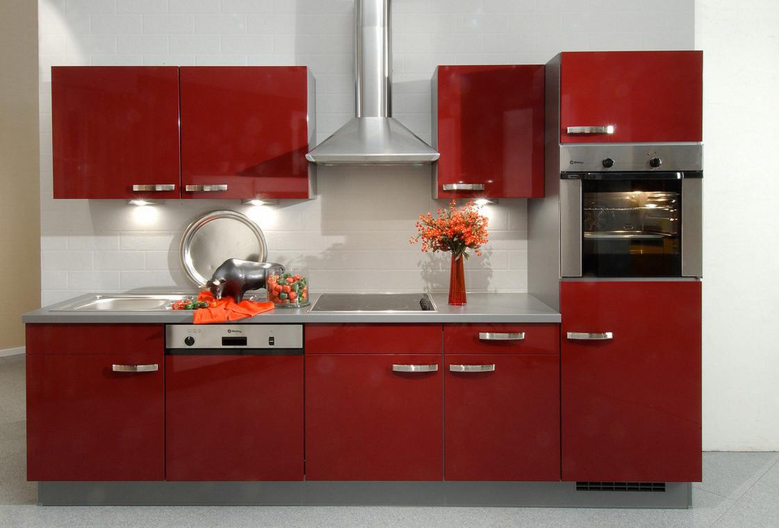 Deep Red Kitchen Cabinets Rendering